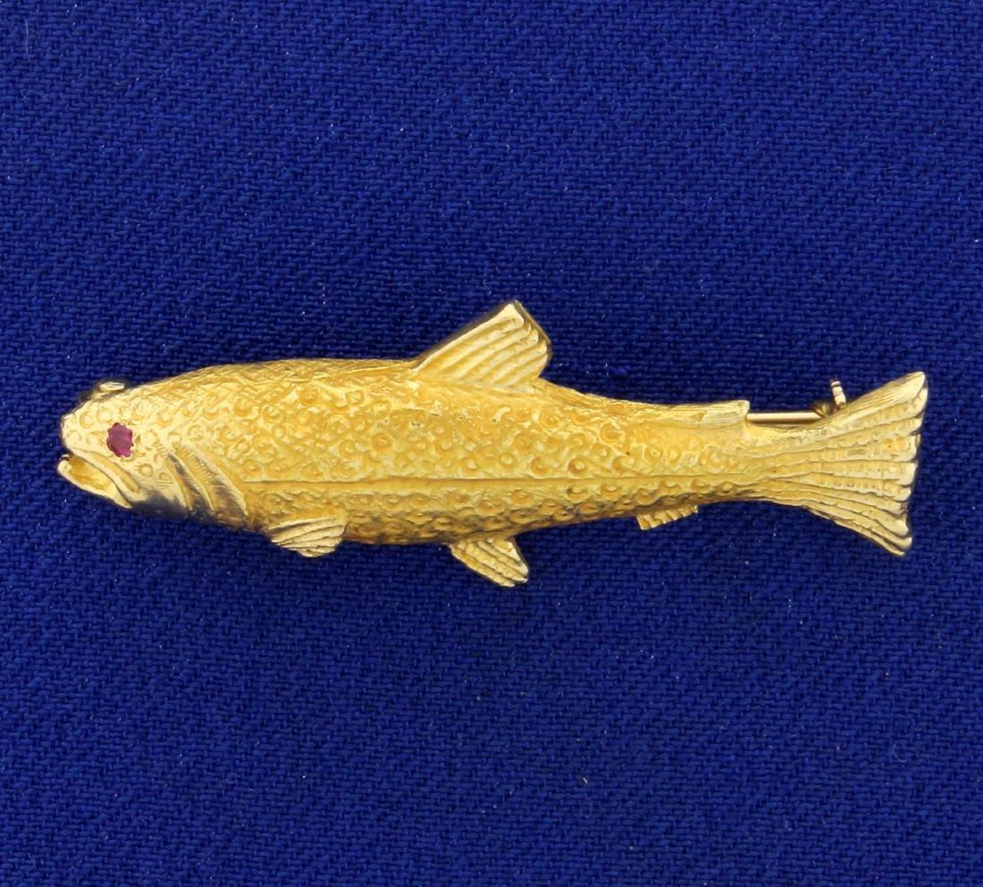 Salmon Fish Pin in 14K Yellow Gold
