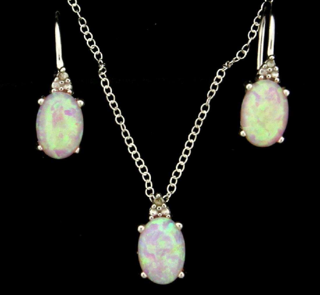 Pink Lab Opal Earring and Pendant Set with Diamonds in