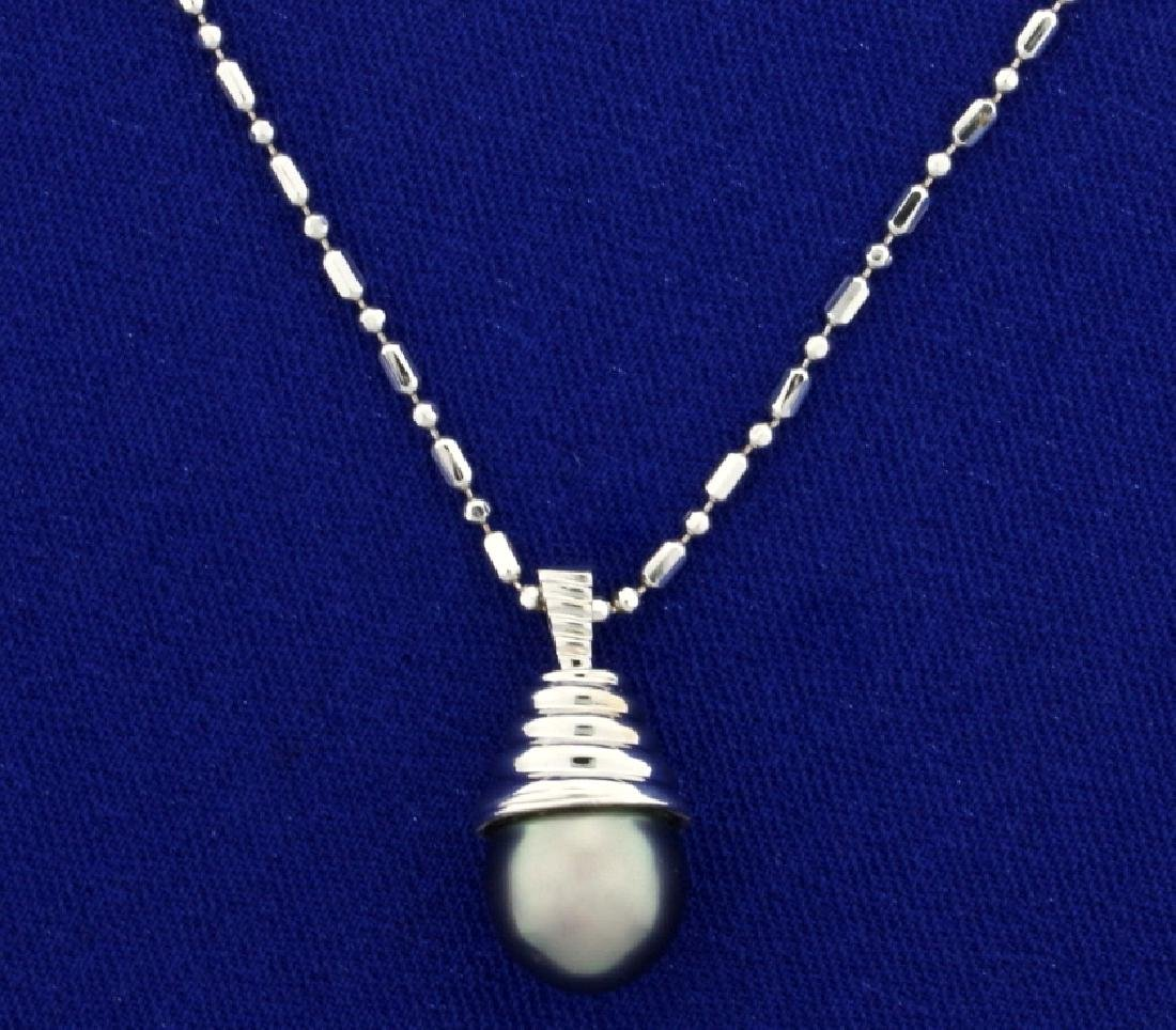 Tahitian Pearl Pendant on 16 Inch Neck Chain in 14k
