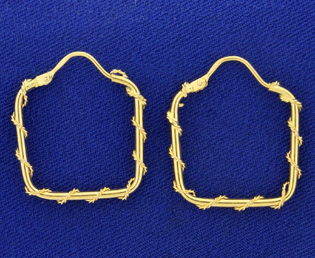18k Gold Square Hoop Earrings with Rope Design