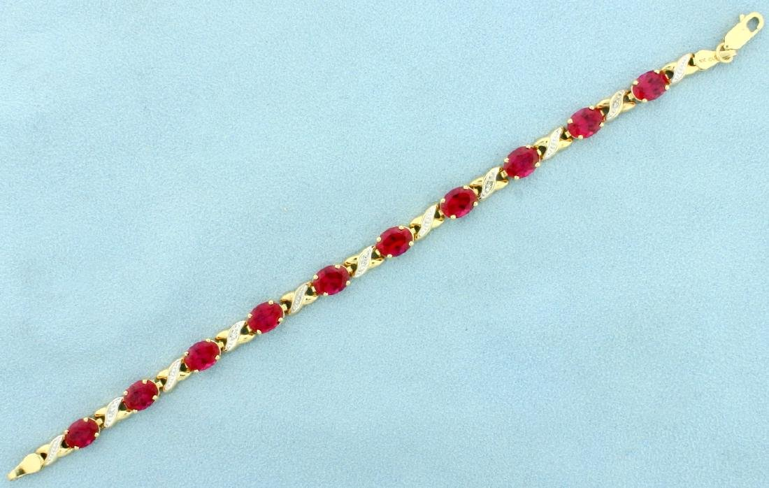 Lab Ruby and DiamondGold Bracelet