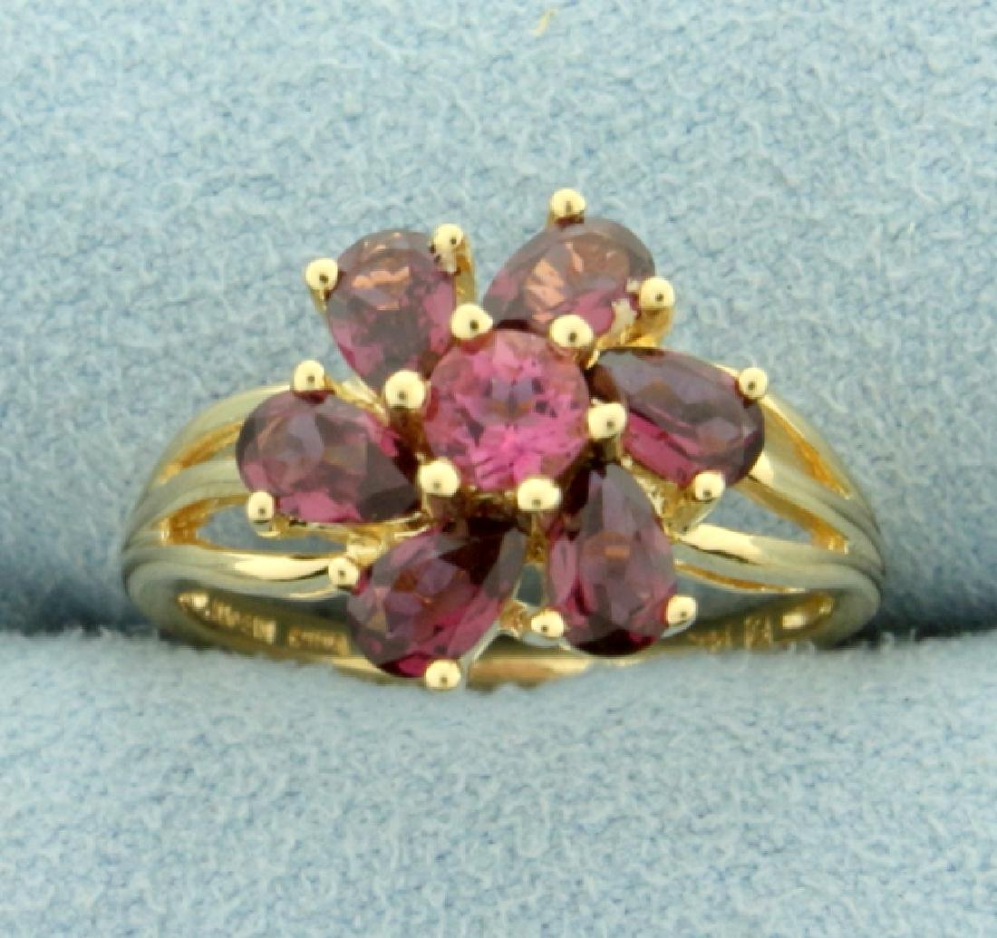 1.75ct TW Natural Pink Tourmaline Ring in Flower Design