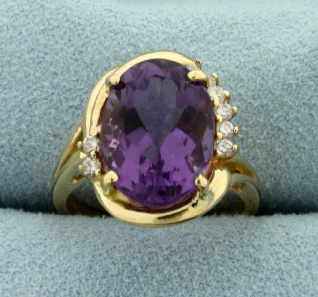 6ct Amethyst and Diamond Ring in 14K Yellow Gold