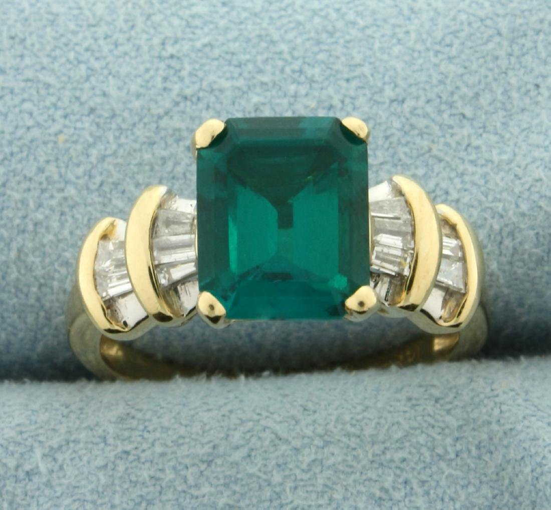 Tsavorite Green Garnet and Diamond Ring in 14K Yellow