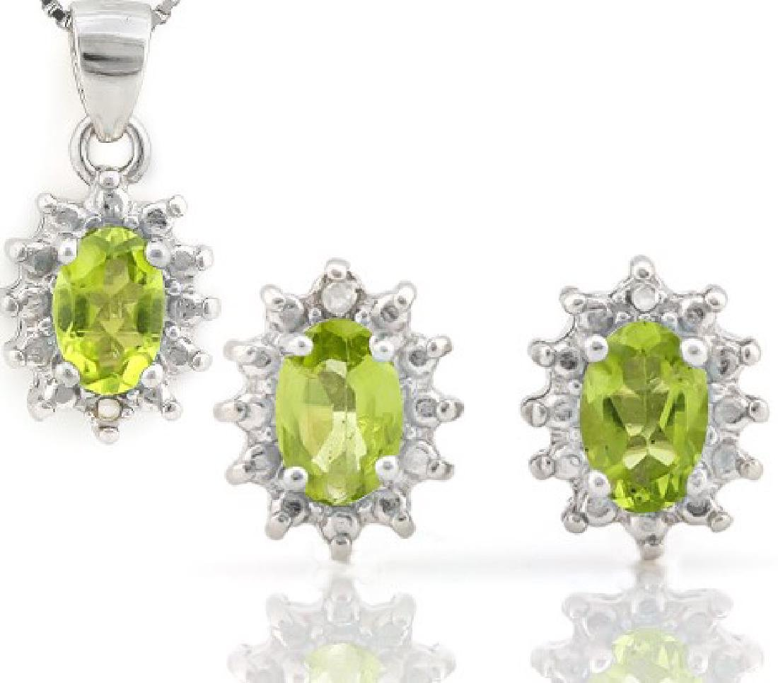 Peridot and Diamond Earring and Pendant Set in Sterling