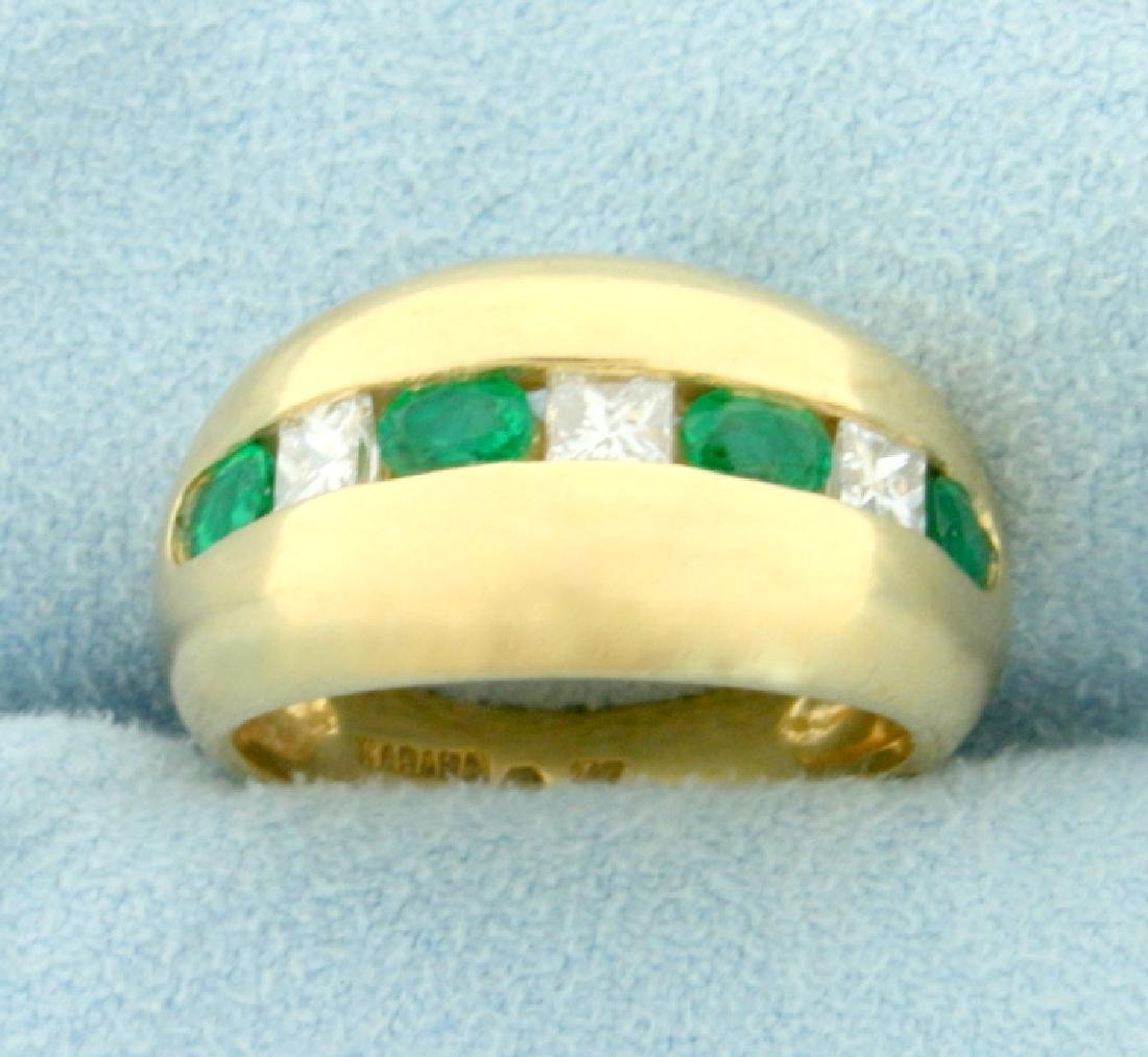 Natural 1 ct TW Emerald and Diamond Ring in 14K Yellow