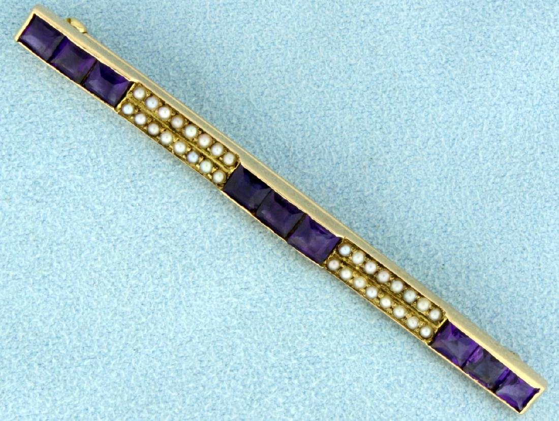 Antique Amethyst and Seed Pearl Pin in 14K Yellow Gold
