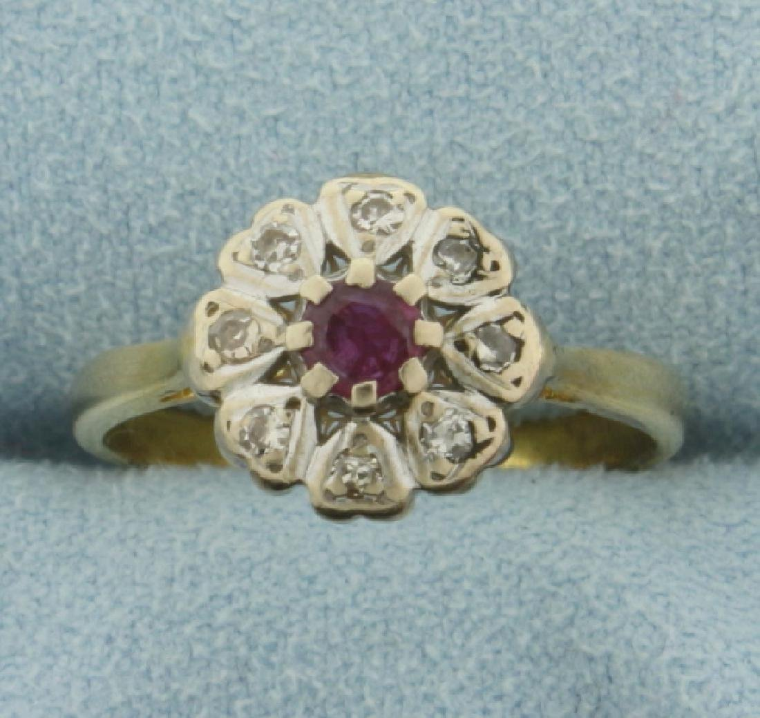 Vintage 18k Gold Ruby and Diamond Ring