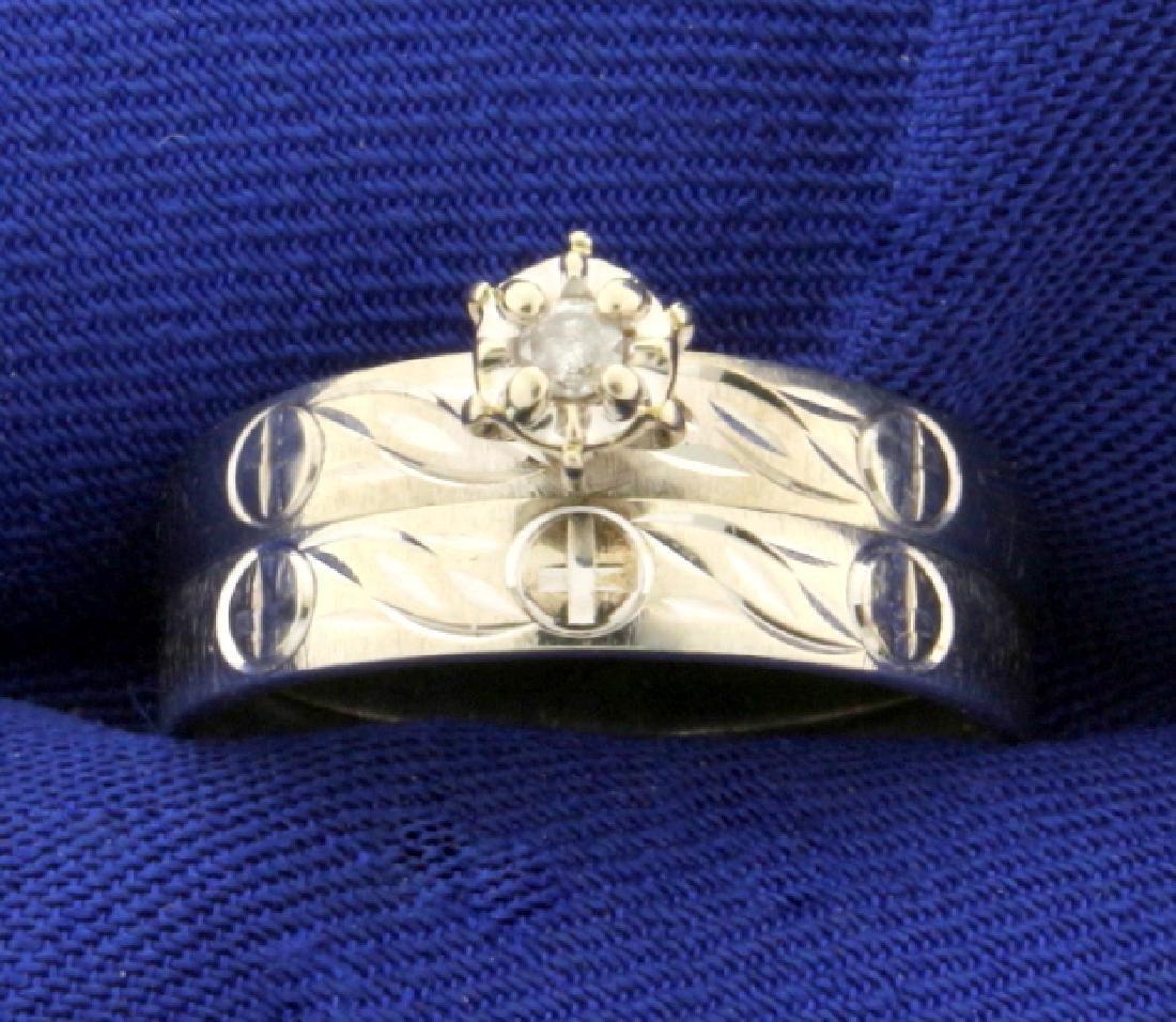 Diamond Wedding Ring Set with Religious Cross Design in