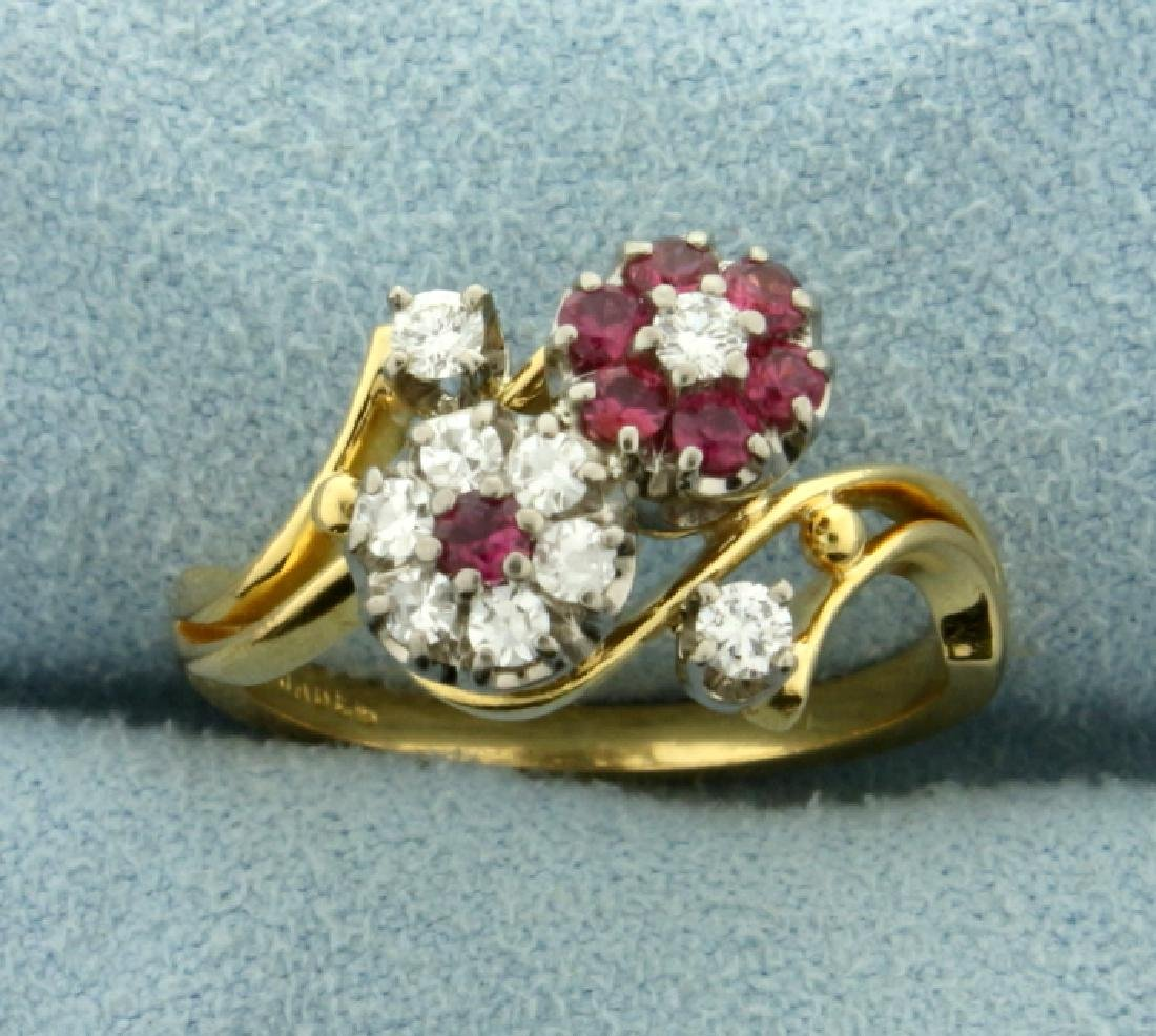 18k Gold Natural Ruby and Diamond Ring in Flower Design