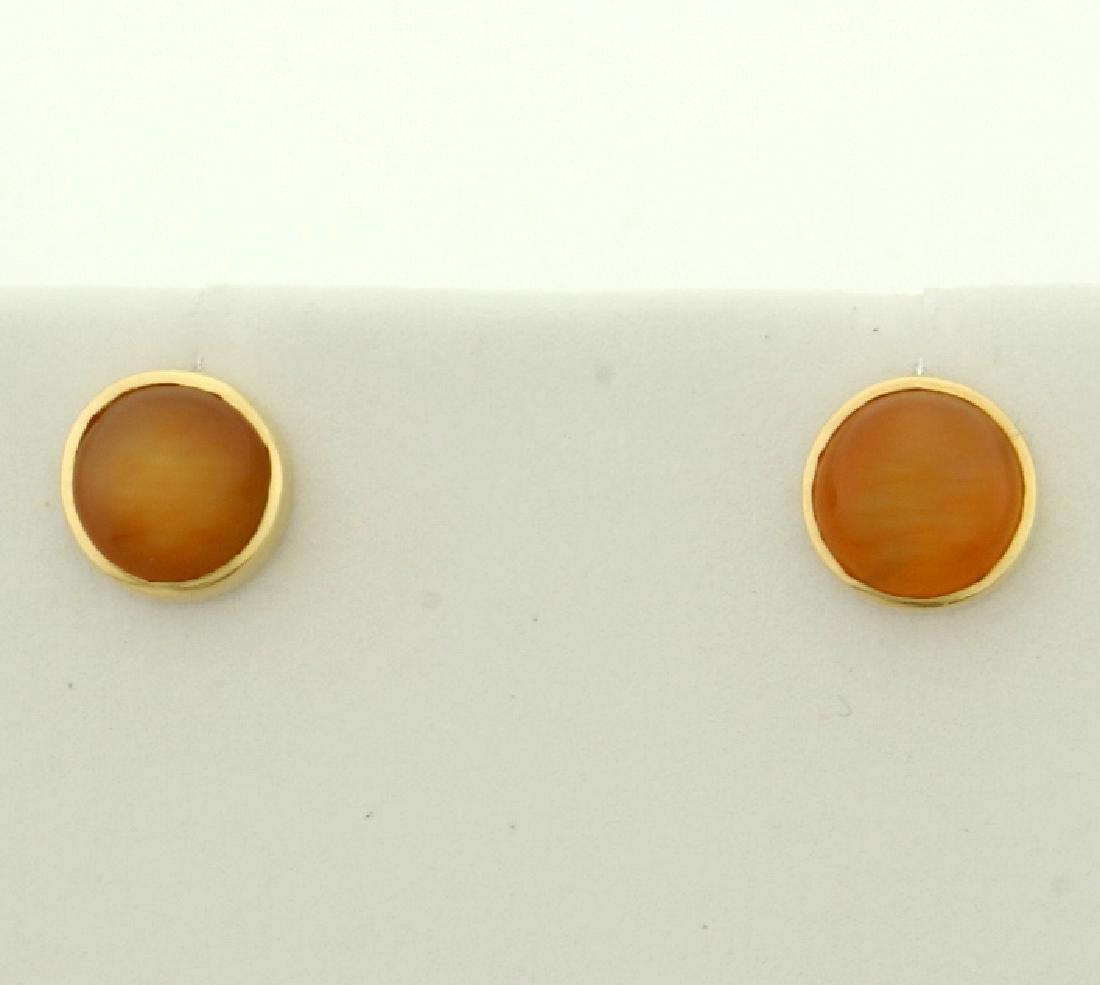 Cats Eye Earrings in 14K Yellow Gold