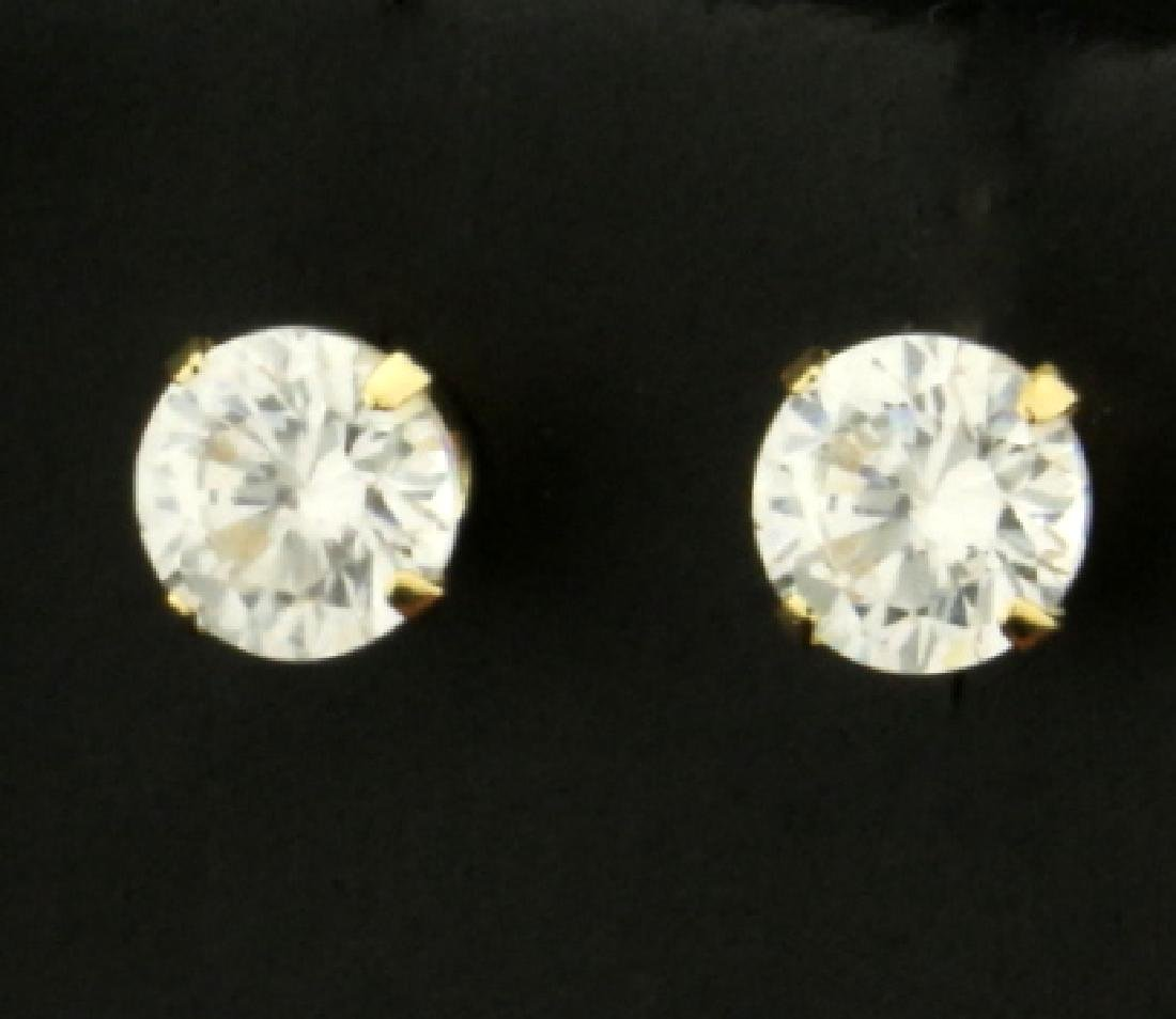 1ct TW CZ Stud Earrings in 14K Yellow Gold