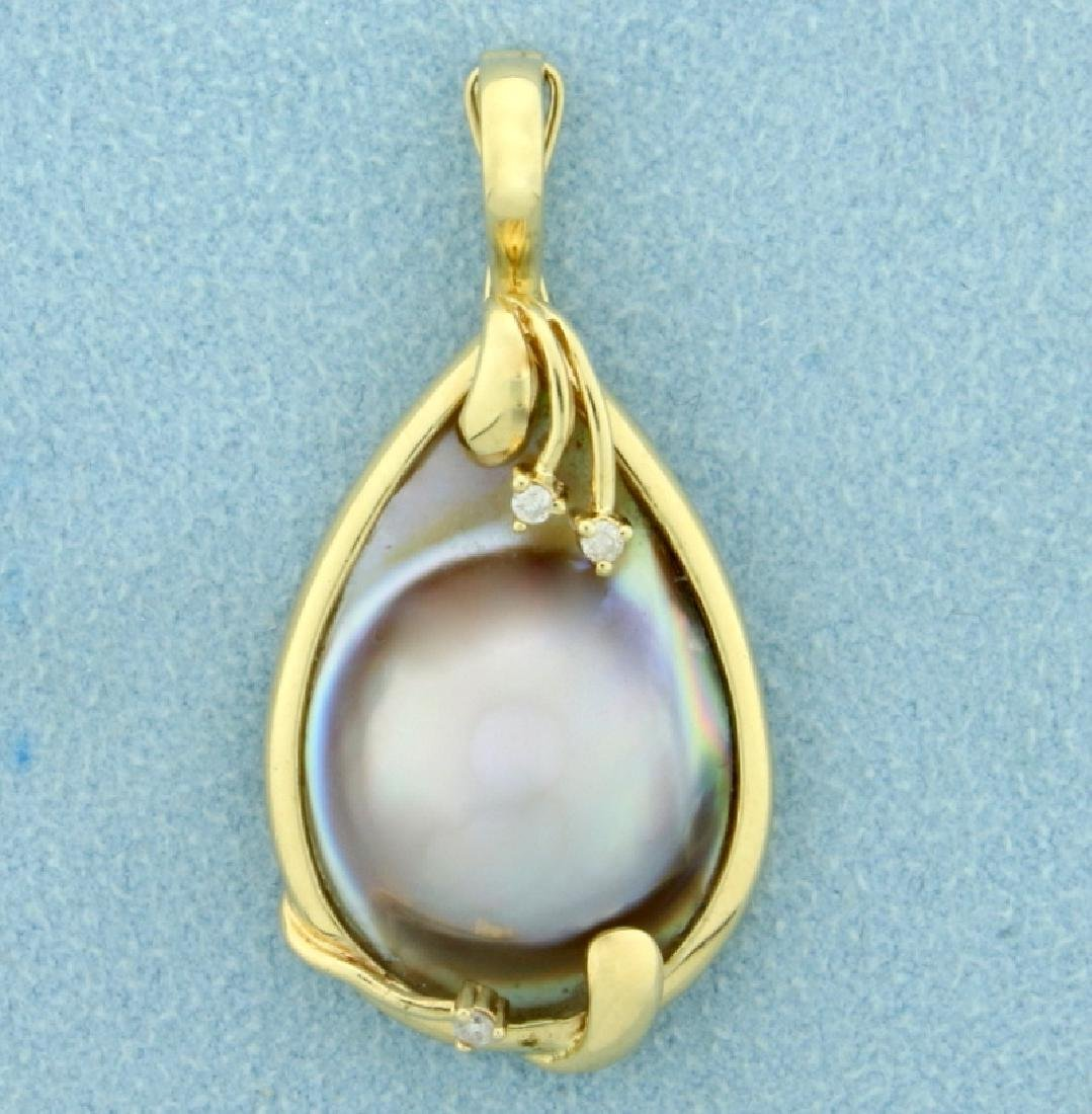 Mabe Pearl and Diamond Pendant in 14K Yellow Gold