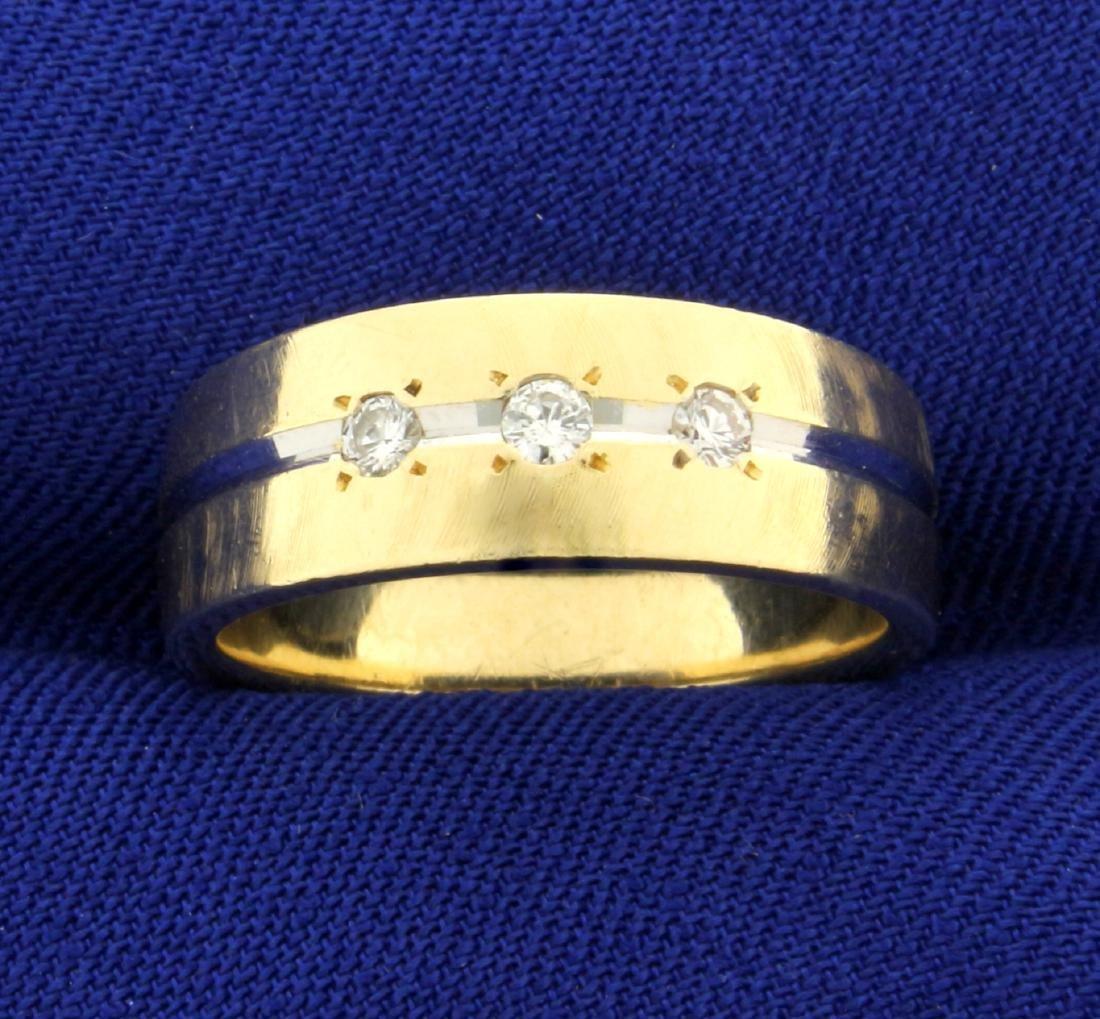 Three-Stone Diamond Band Ring in 14K Yellow and White