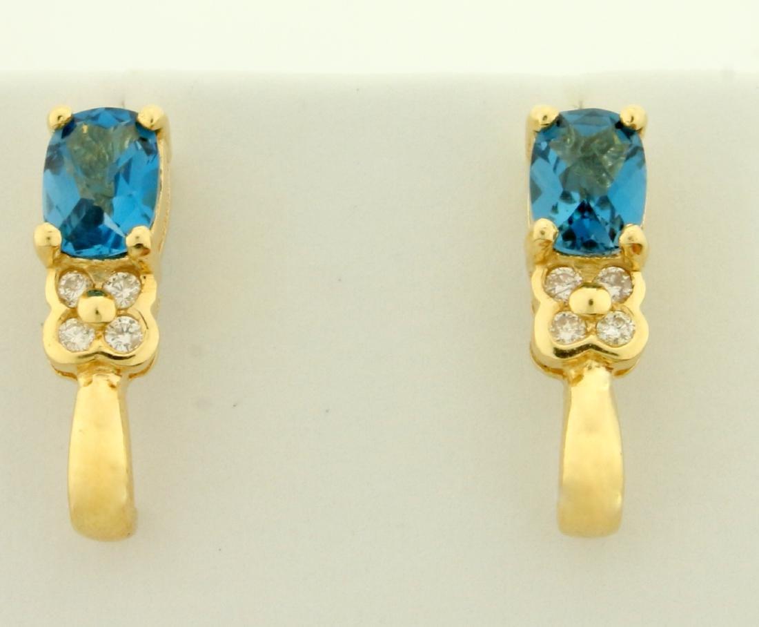 2ct TW Swiss Blue Topaz and Diamond Earrings in 14K