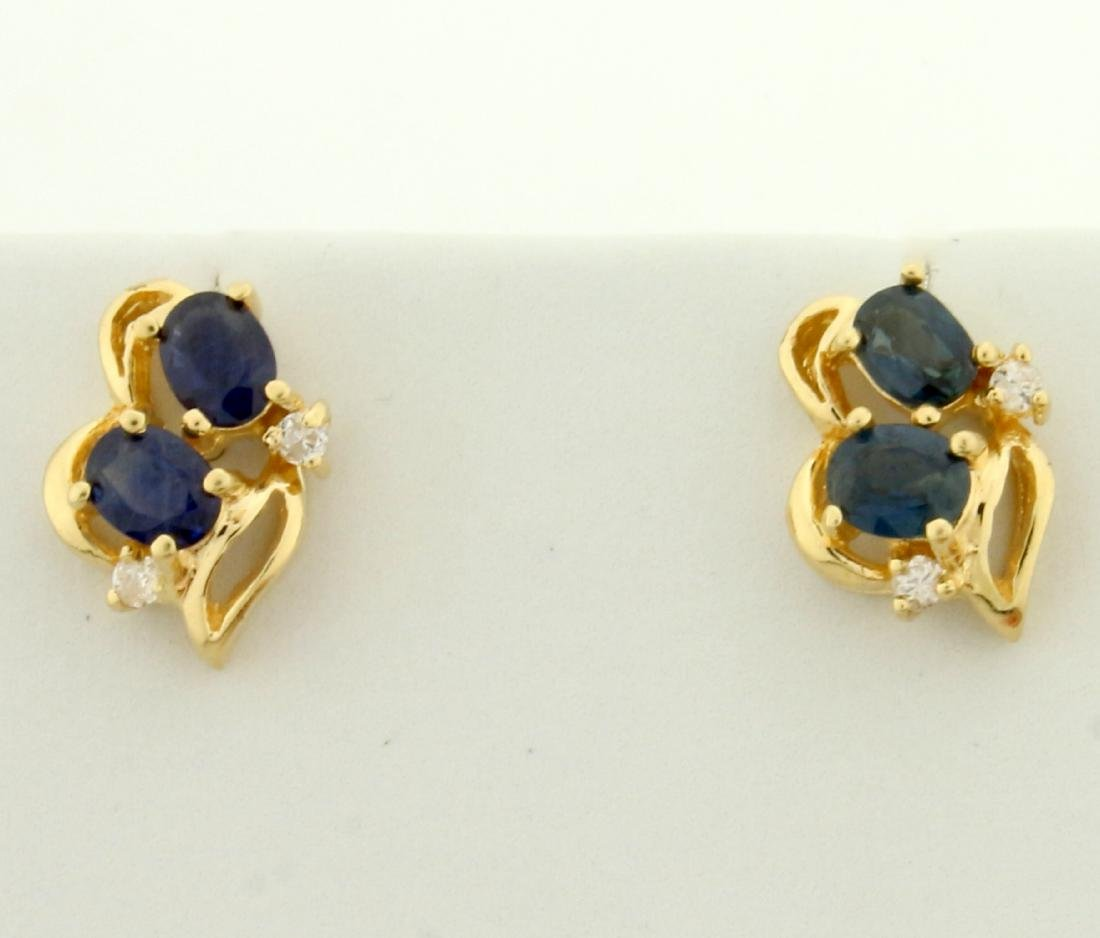 Natural Sapphire and Diamond Earrings in 14K Yellow