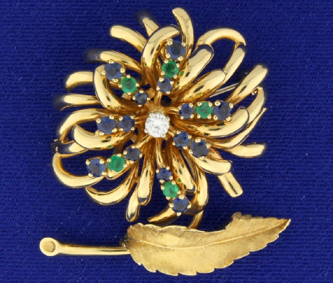 Emerald, Sapphire, and Diamond Feather/Flower Pin
