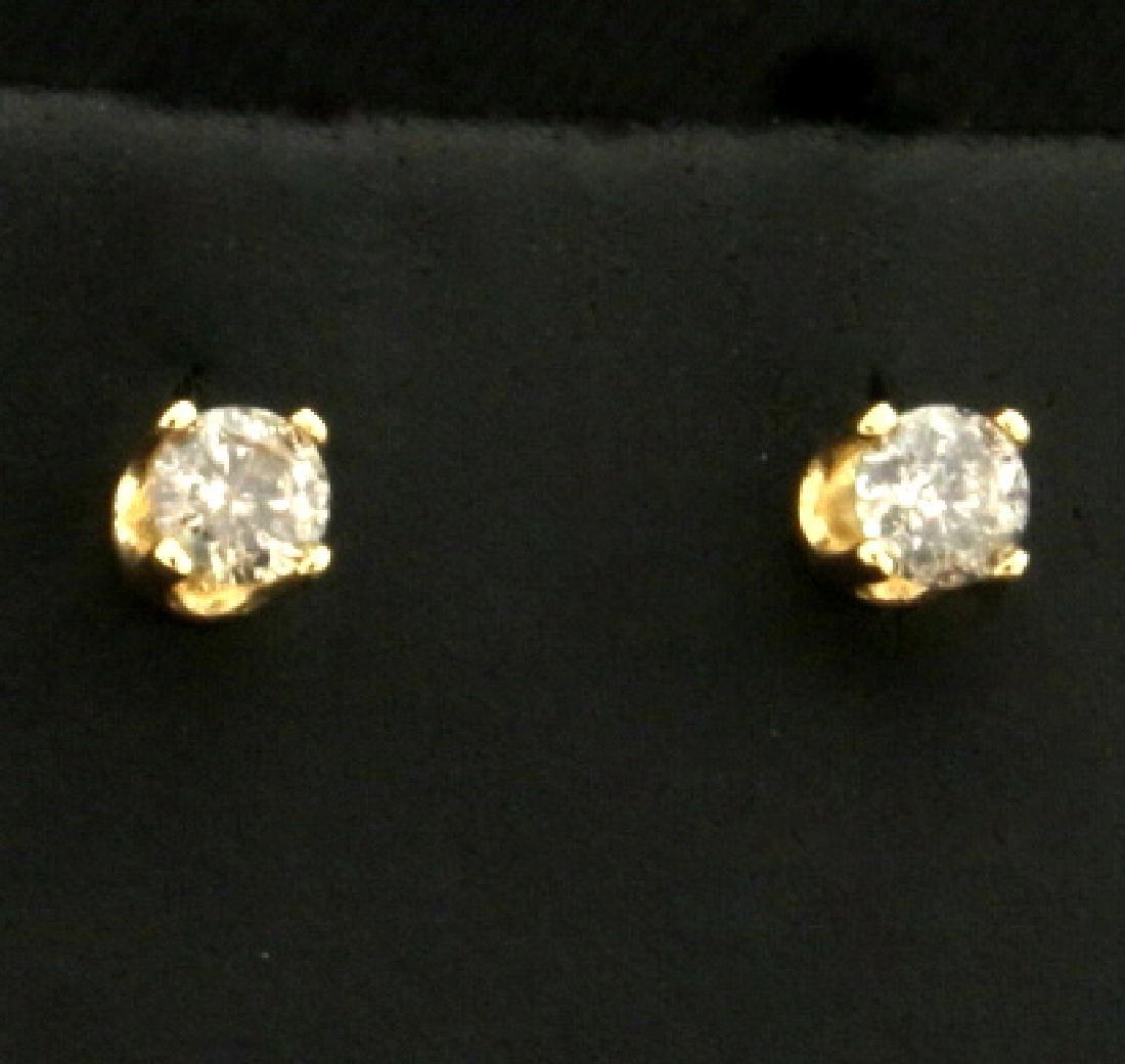 Diamond Stud Earrings in 14K Yellow Gold