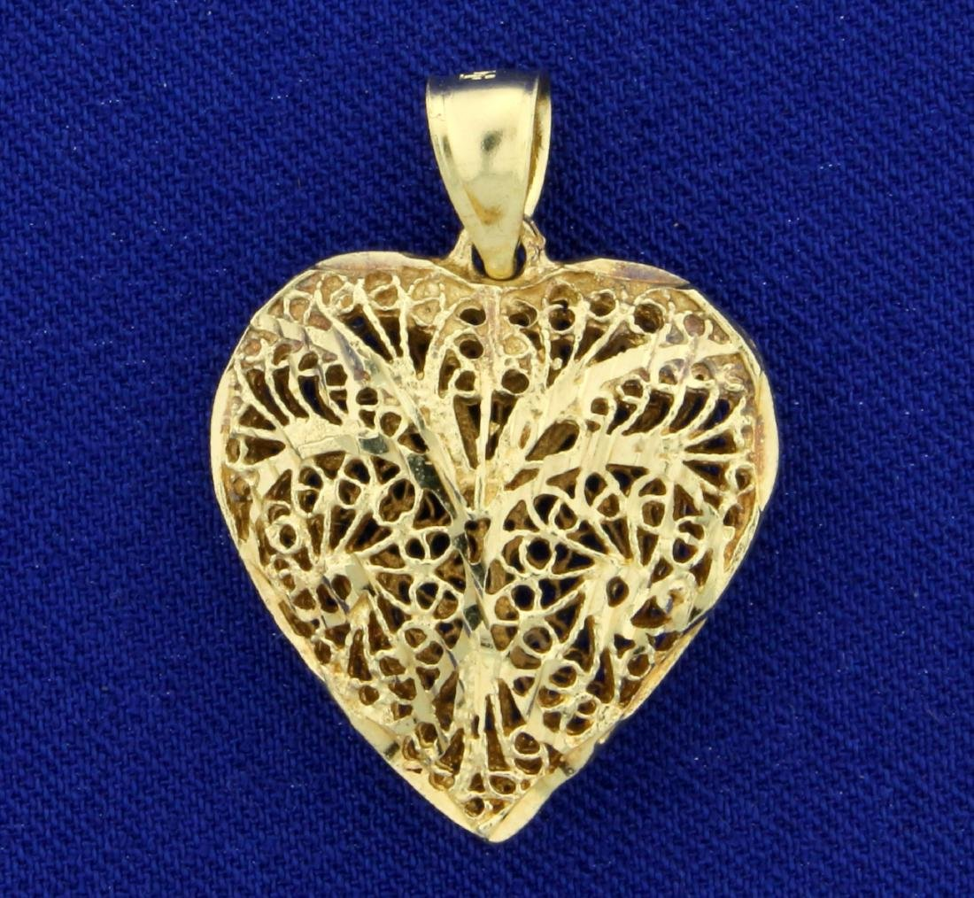 Vintage Filigree Gold Heart Pendant in 10K Yellow Gold
