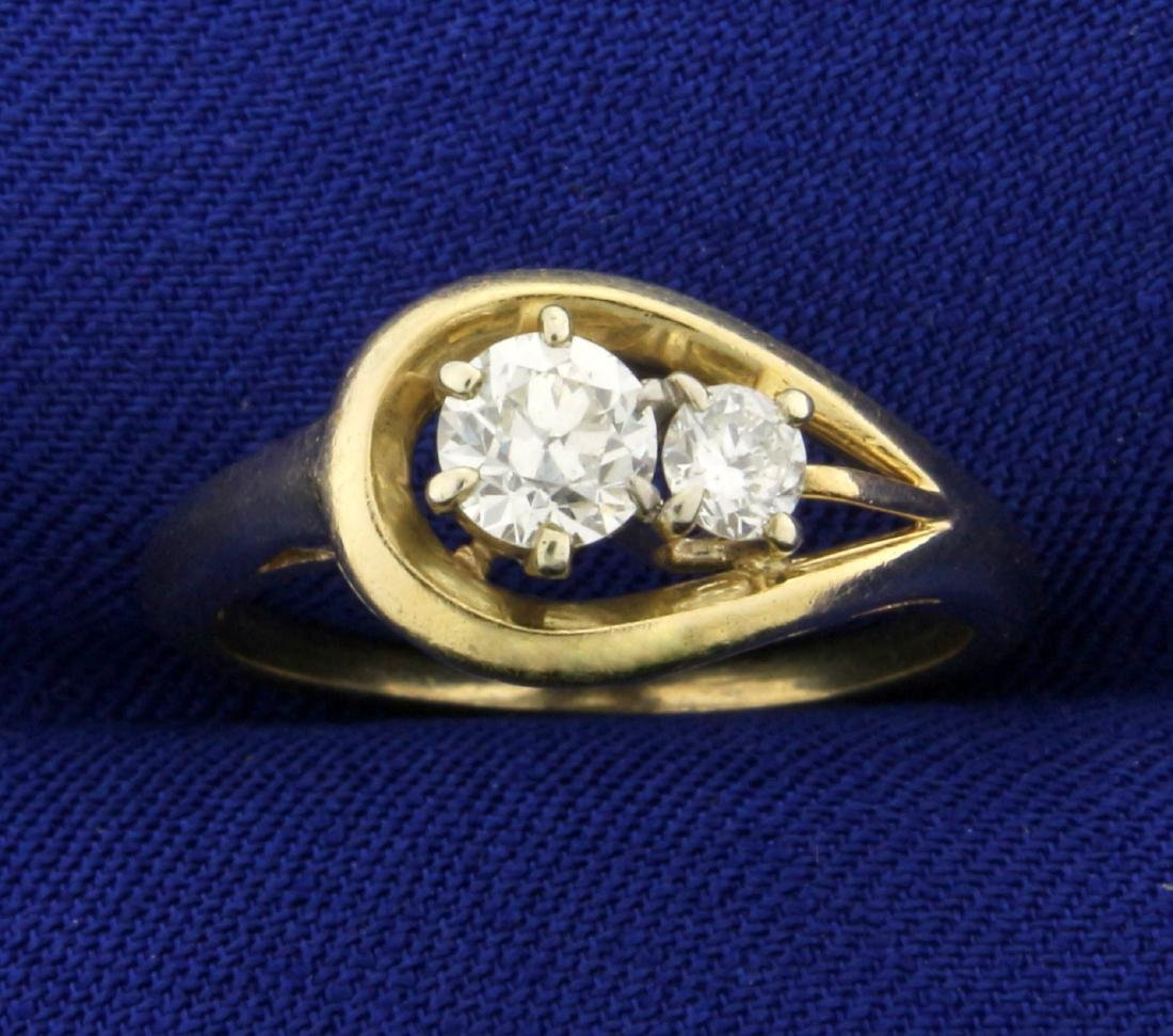 Antique 2 Stone Diamond Ring in 14K Yellow Gold .6ct TW