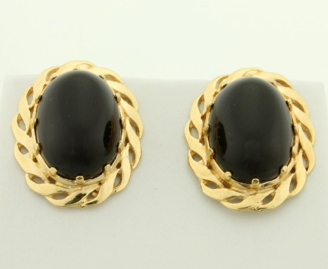 12ct TW Onyx Earrings in 14K Yellow Gold
