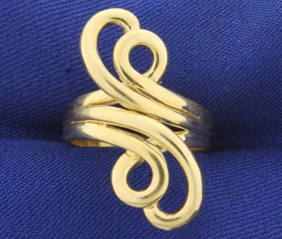Abstract Design Designer Gold Ring in 14K Yellow Gold