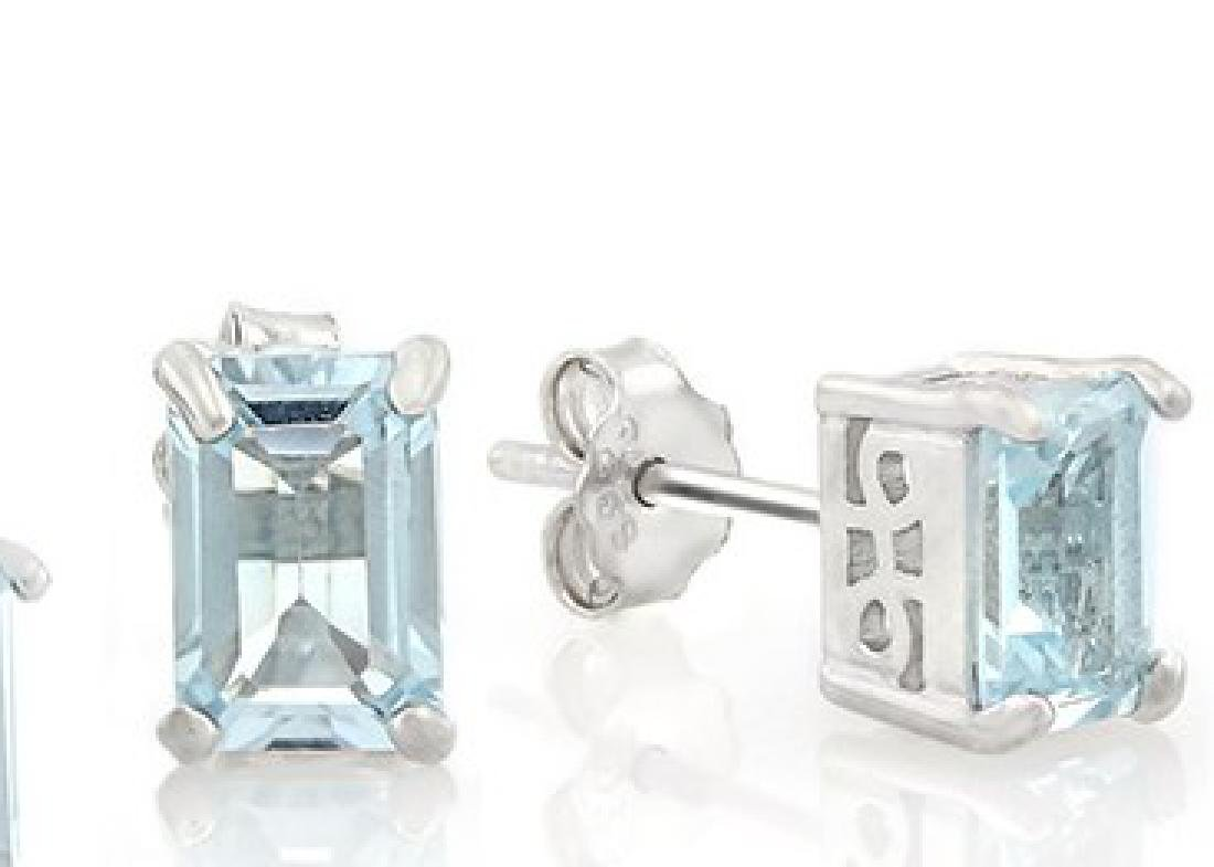 2.5CTW Sky Blue Topaz Emerald Cut Earring and Pendant