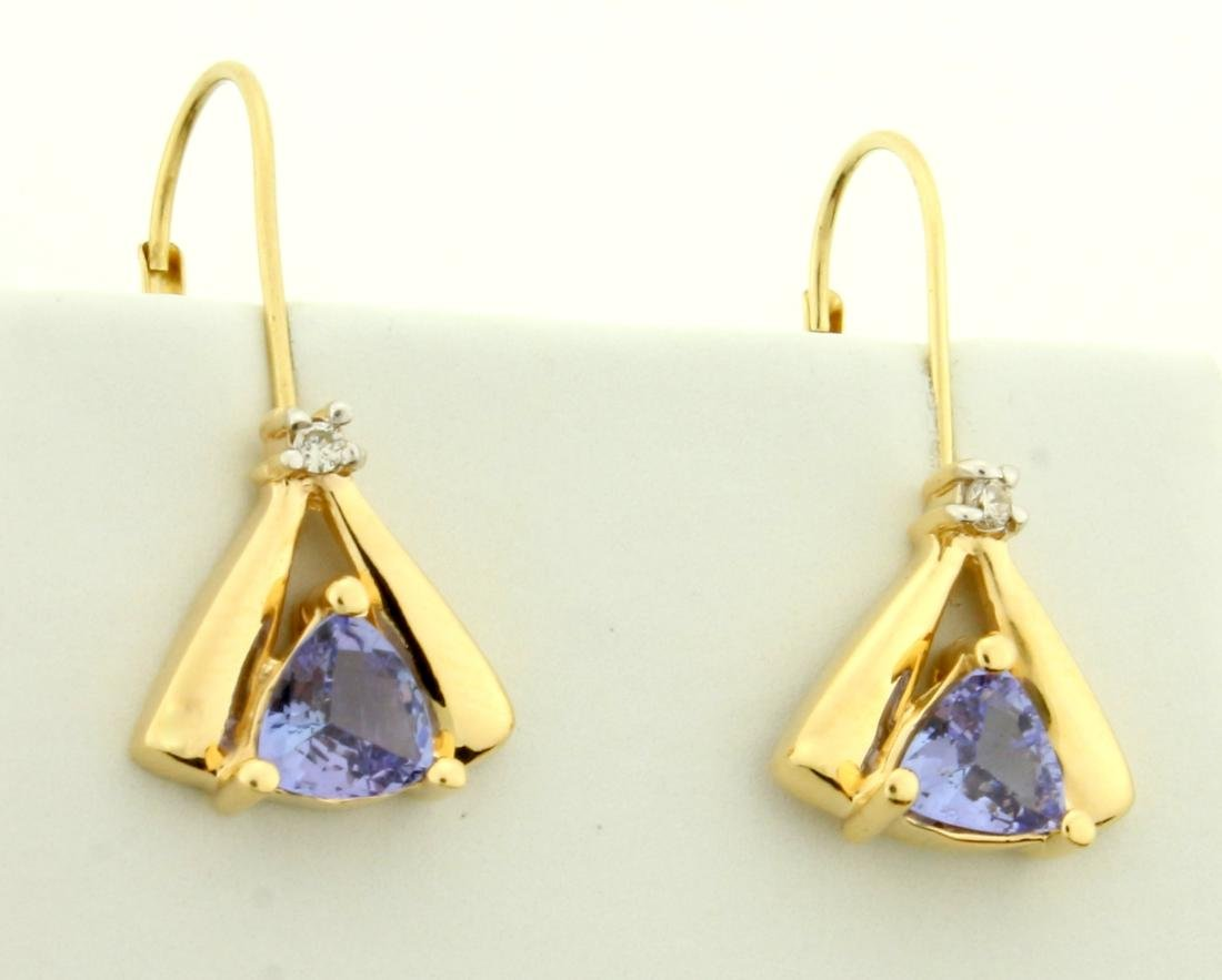 Tanzanite and Diamond Dangle Drop Earrings in 14K