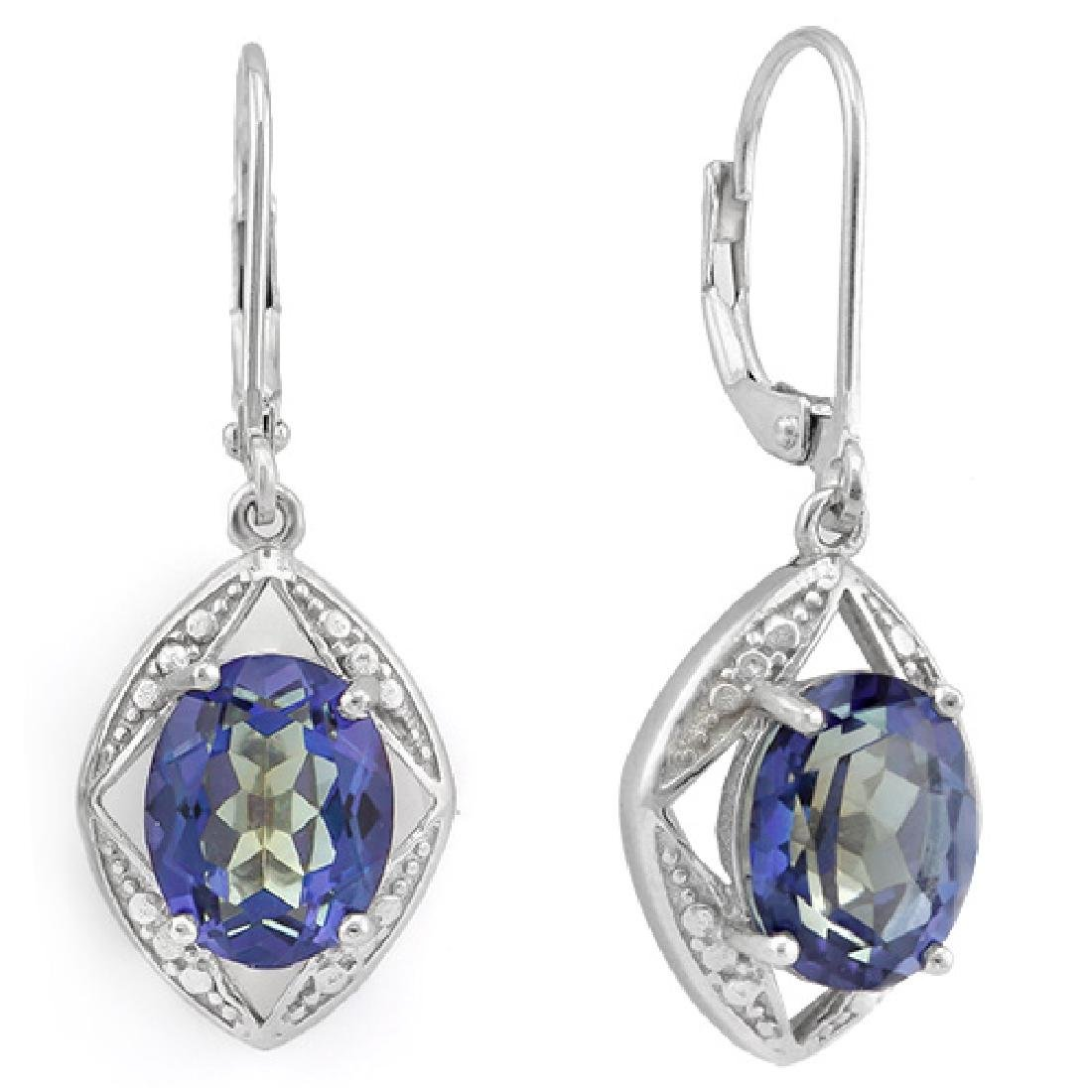 Blue Violet Mystic Topaz Dangle Earrings in Sterling - 2