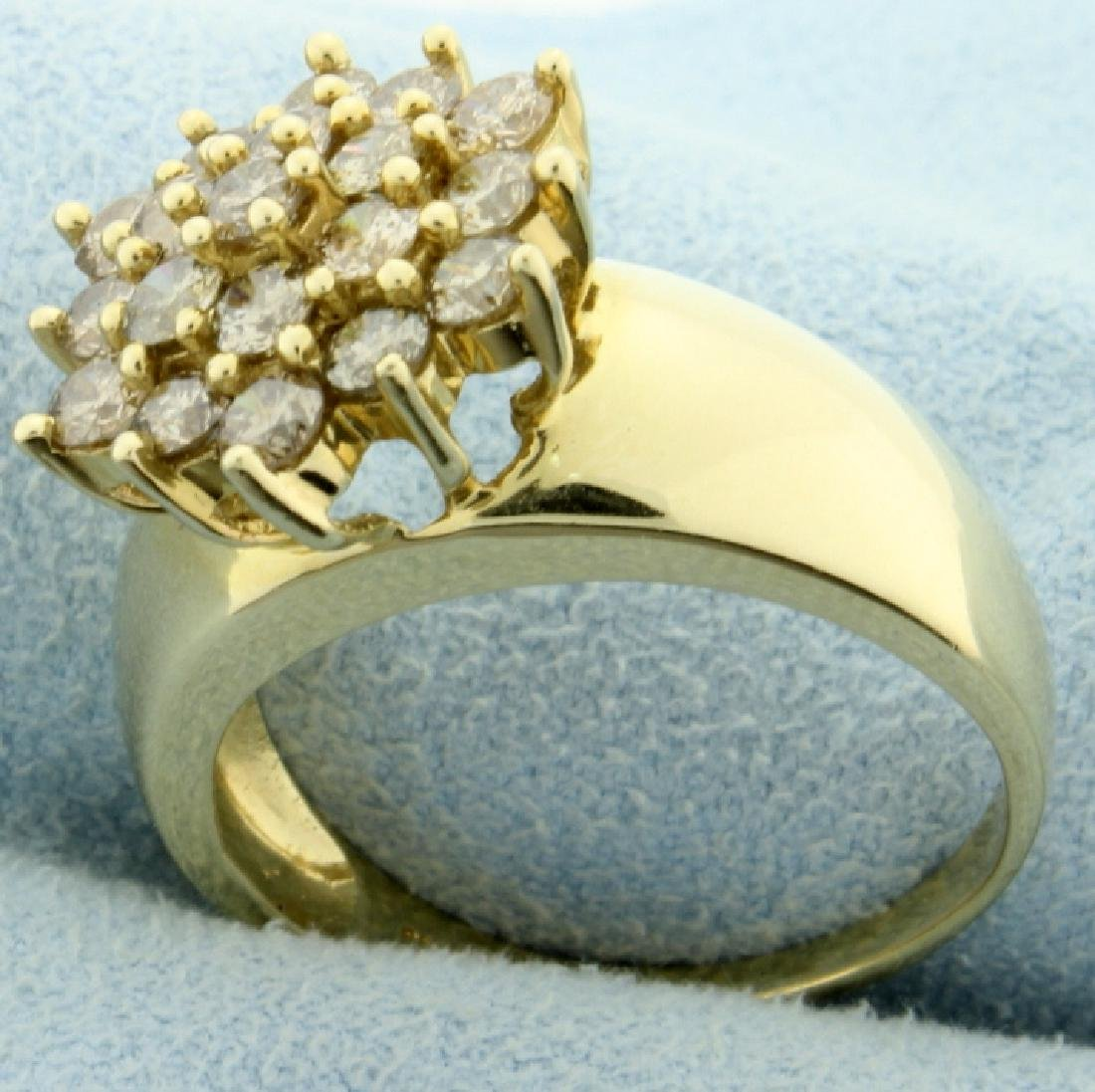 2ct TW Champagne Diamond Cluster Ring - 2