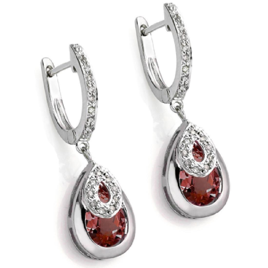 Garnet and Diamond Dangle Earrings in Sterling Silver