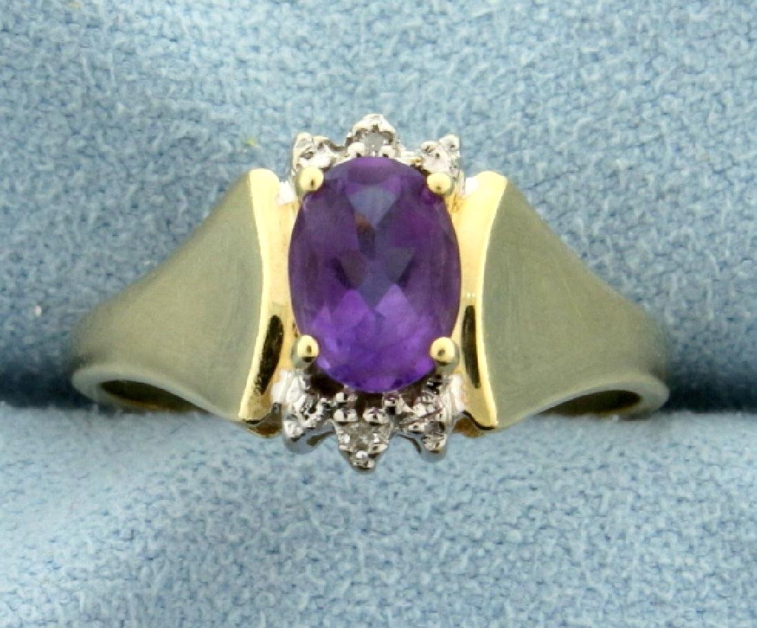 1ct Amethyst and Diamond Gold Ring