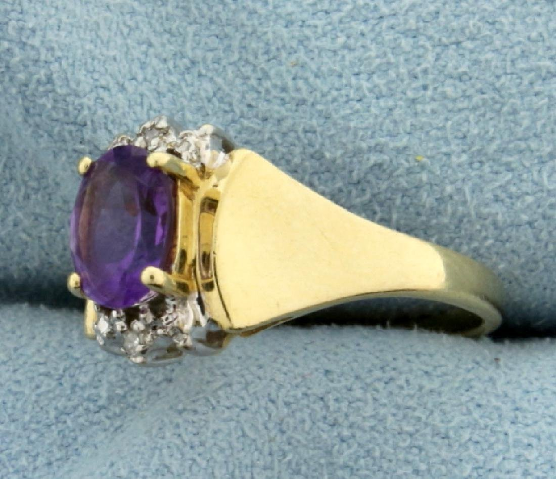 1ct Amethyst and Diamond Gold Ring - 2