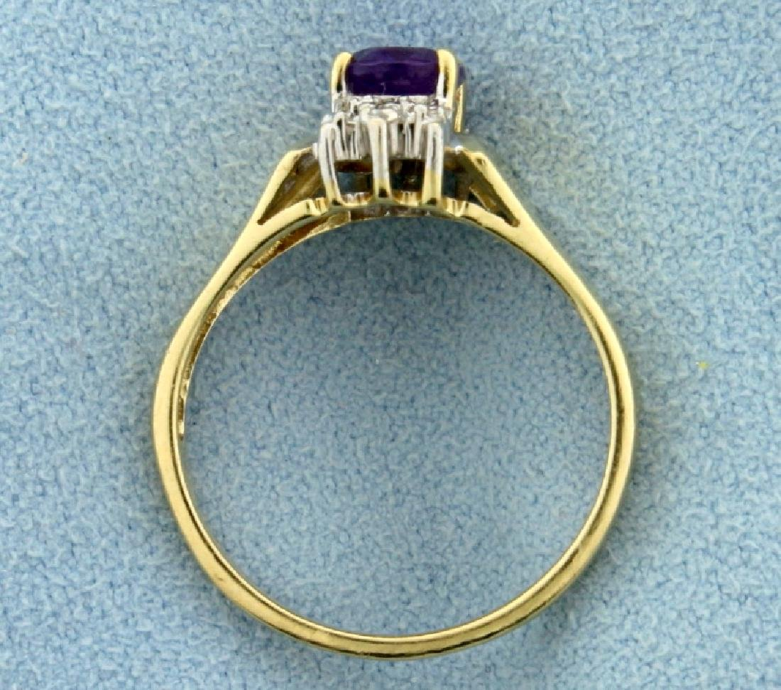 1ct Amethyst and Diamond Gold Ring - 3