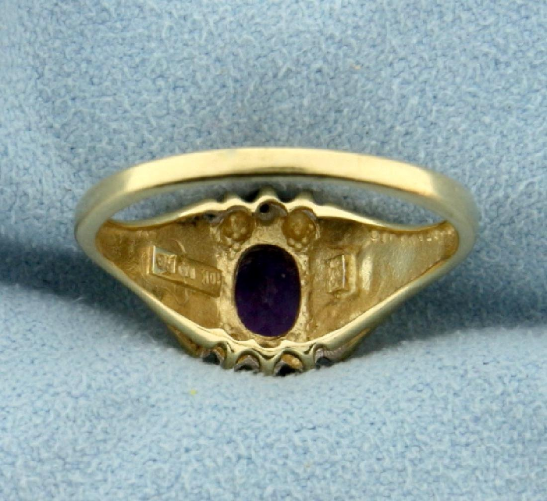 1ct Amethyst and Diamond Gold Ring - 4