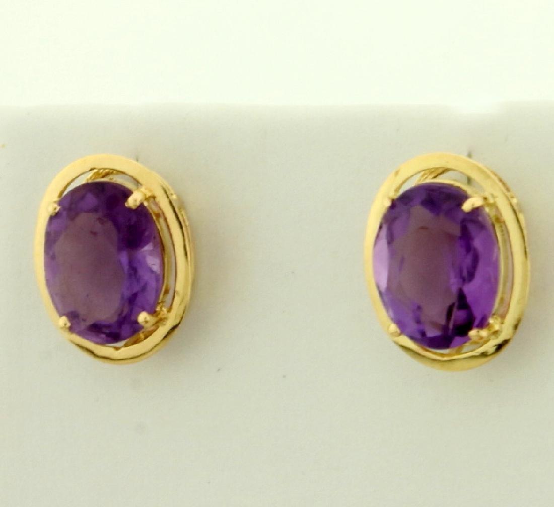 5ct TW Amethyst Earrings in 14K Yellow Gold