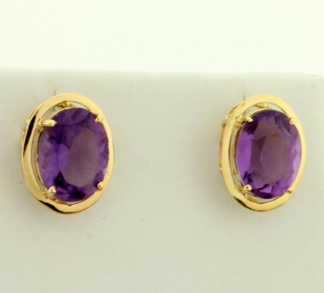 5ct TW Amethyst Earrings in 14K Yellow Gold - 2