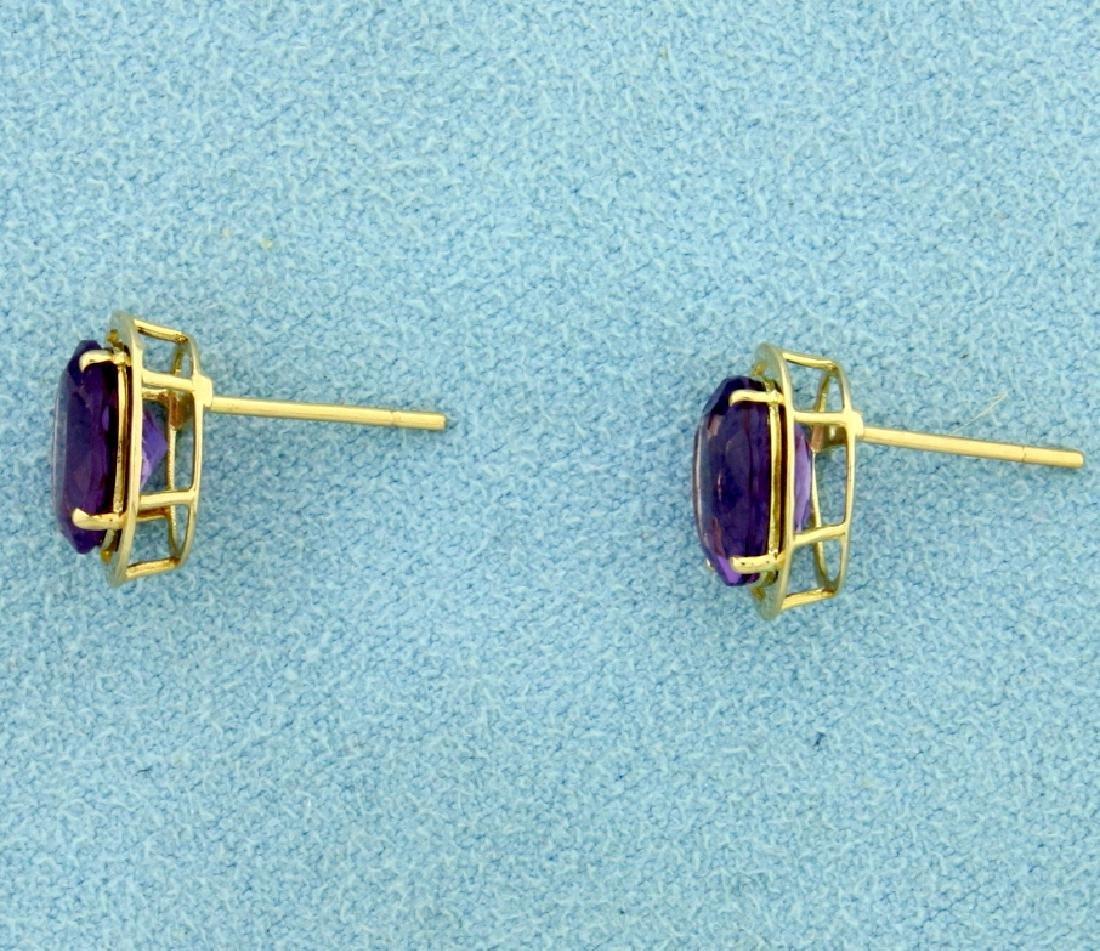 5ct TW Amethyst Earrings in 14K Yellow Gold - 3