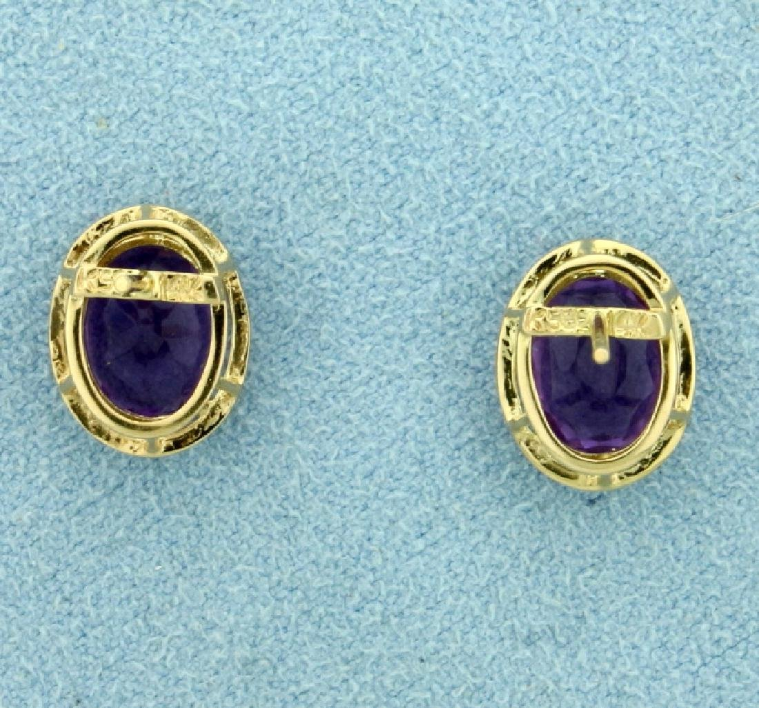 5ct TW Amethyst Earrings in 14K Yellow Gold - 4