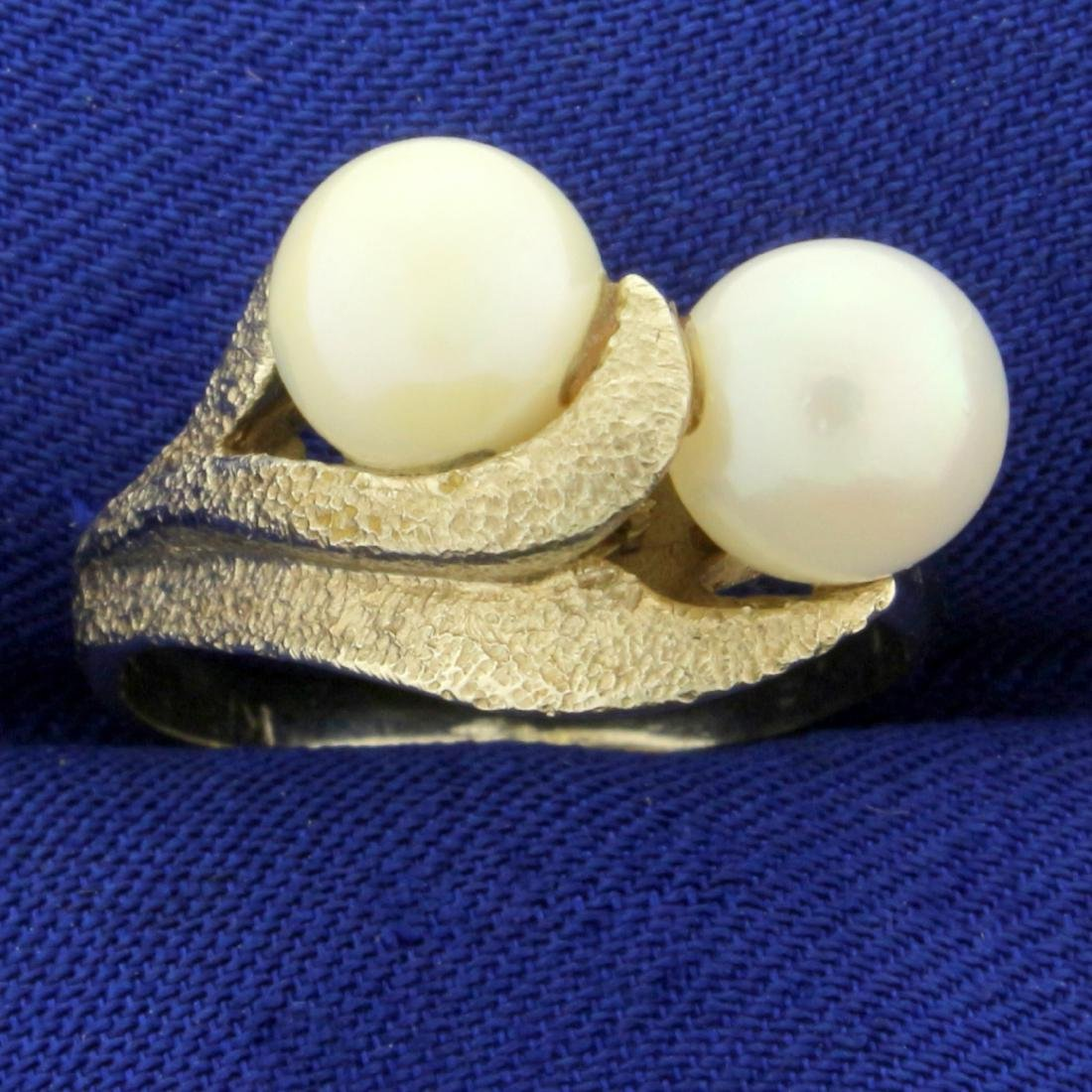 Vintage Double Akoya Pearl Ring in 14K White Gold