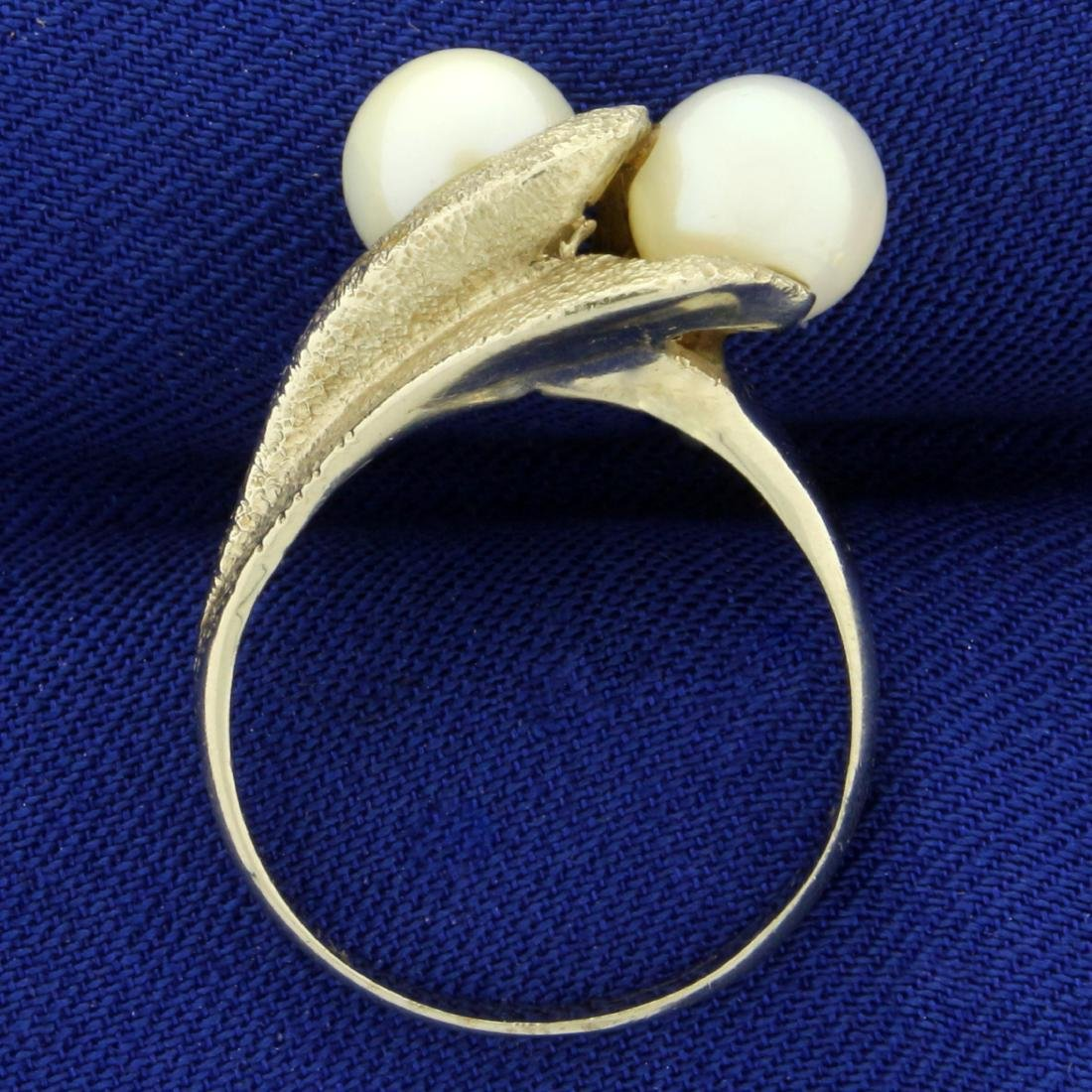 Vintage Double Akoya Pearl Ring in 14K White Gold - 3