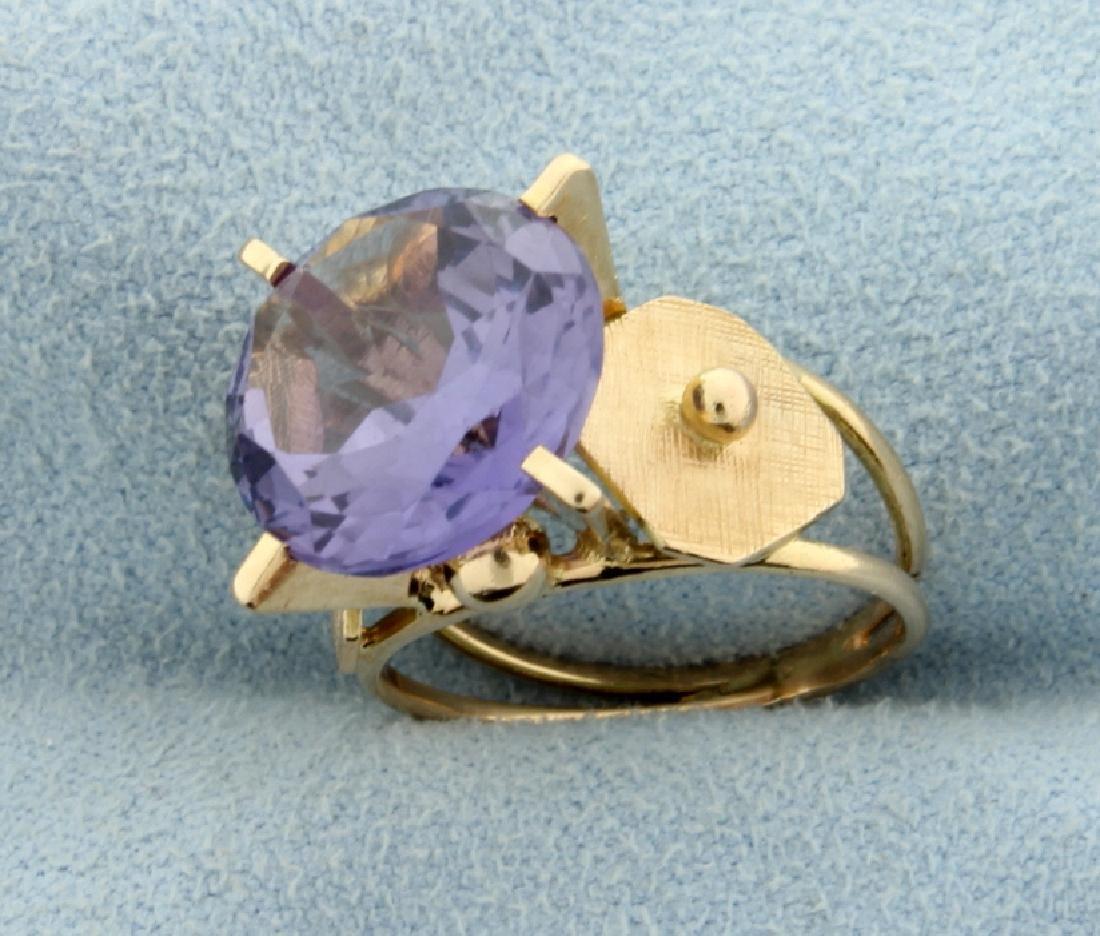 Vintage 6ct Purple Sapphire Ring - 2