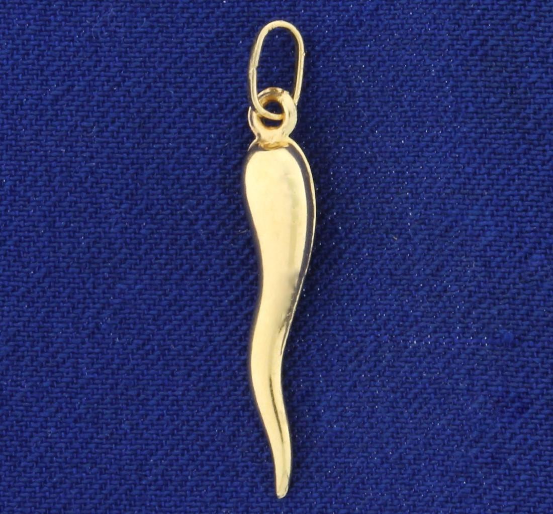 Italian Horn Pendant or Charm in 14K Yellow Gold