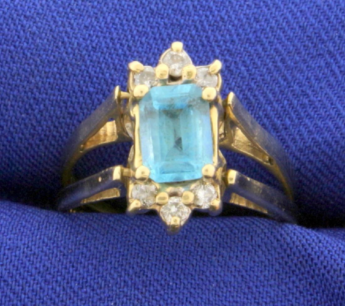 Reversible Diamond and Blue Topaz Ring in 14k Gold