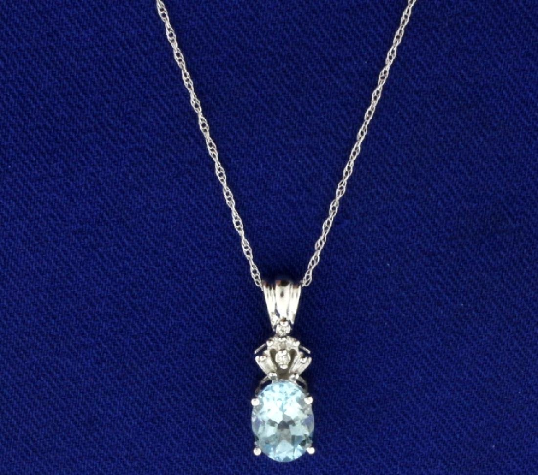1.5ct Aquamarine and Diamond Pendant with Chain in