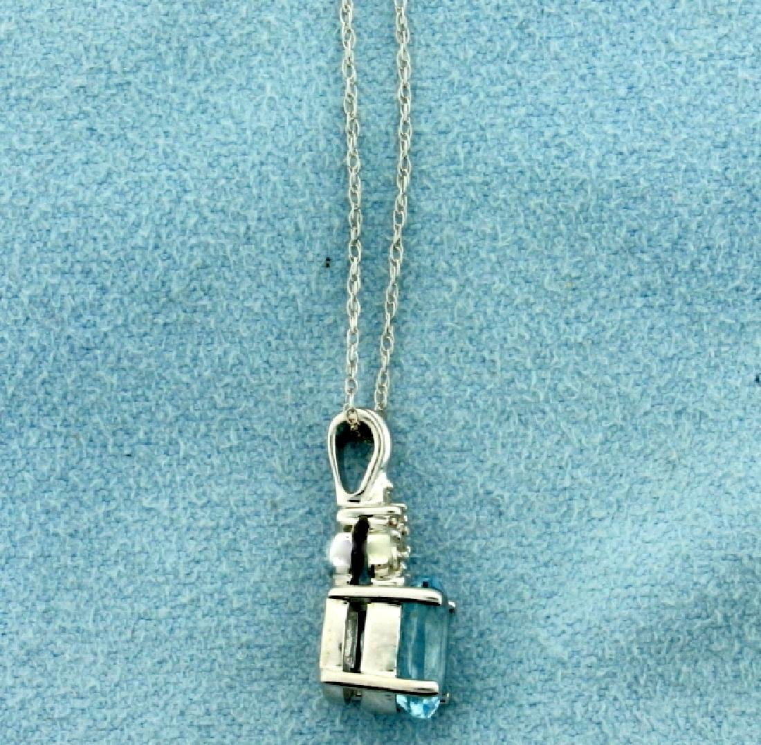 1.5ct Aquamarine and Diamond Pendant with Chain in - 2