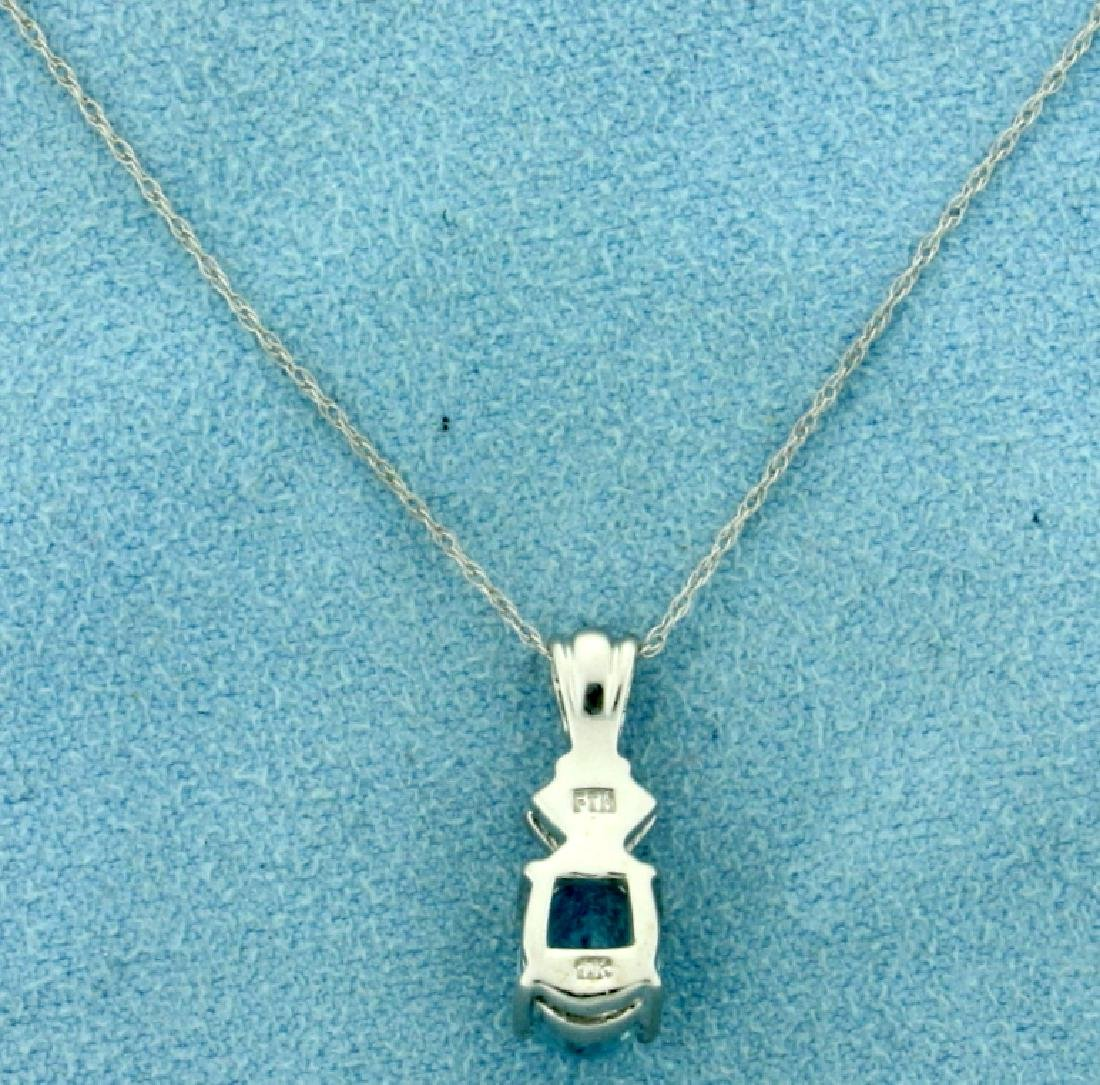 1.5ct Aquamarine and Diamond Pendant with Chain in - 3