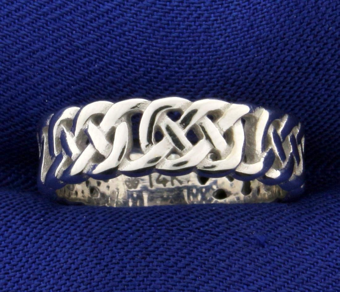 Braided White Gold Band Ring in 14K White Gold