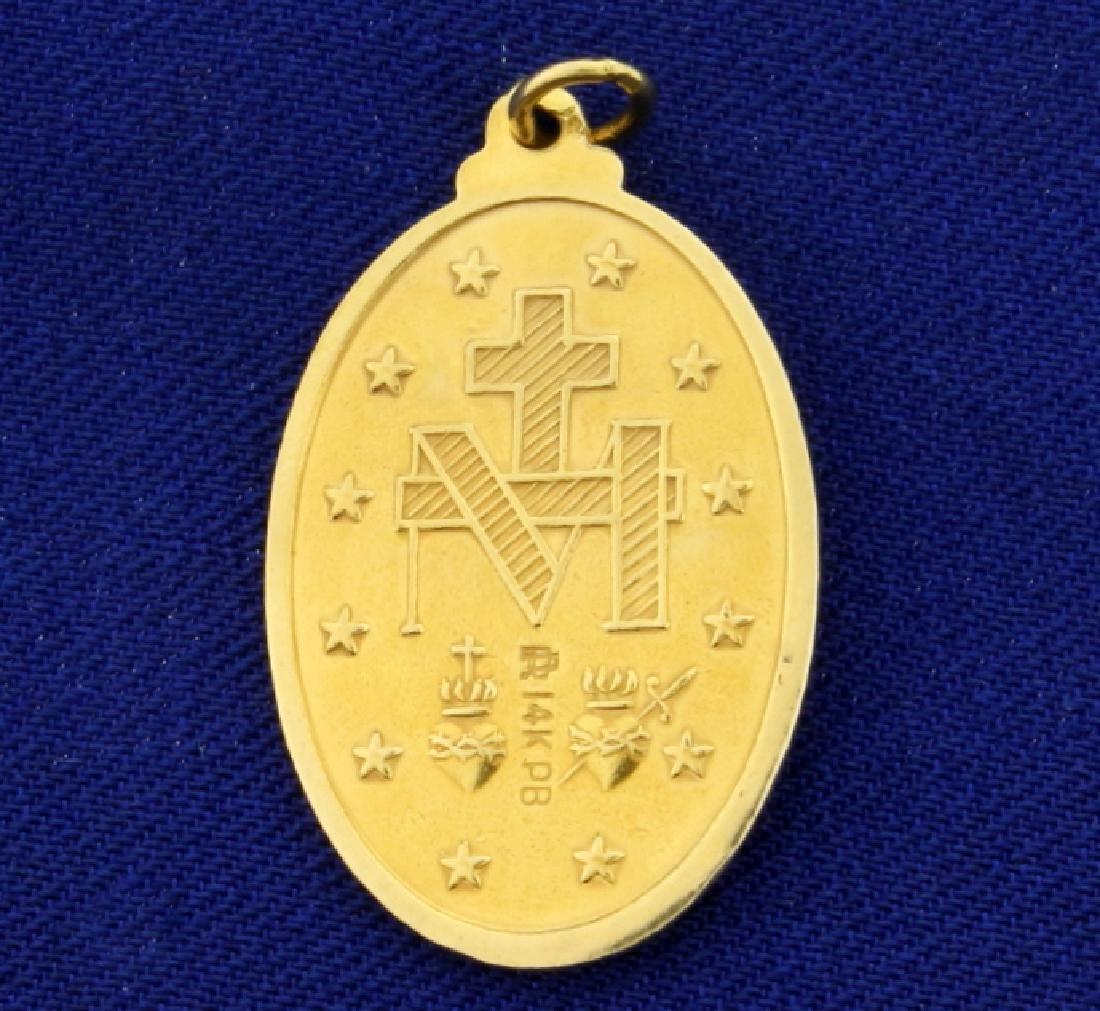 Virgin Mary Pendant in 14K Yellow Gold - 2