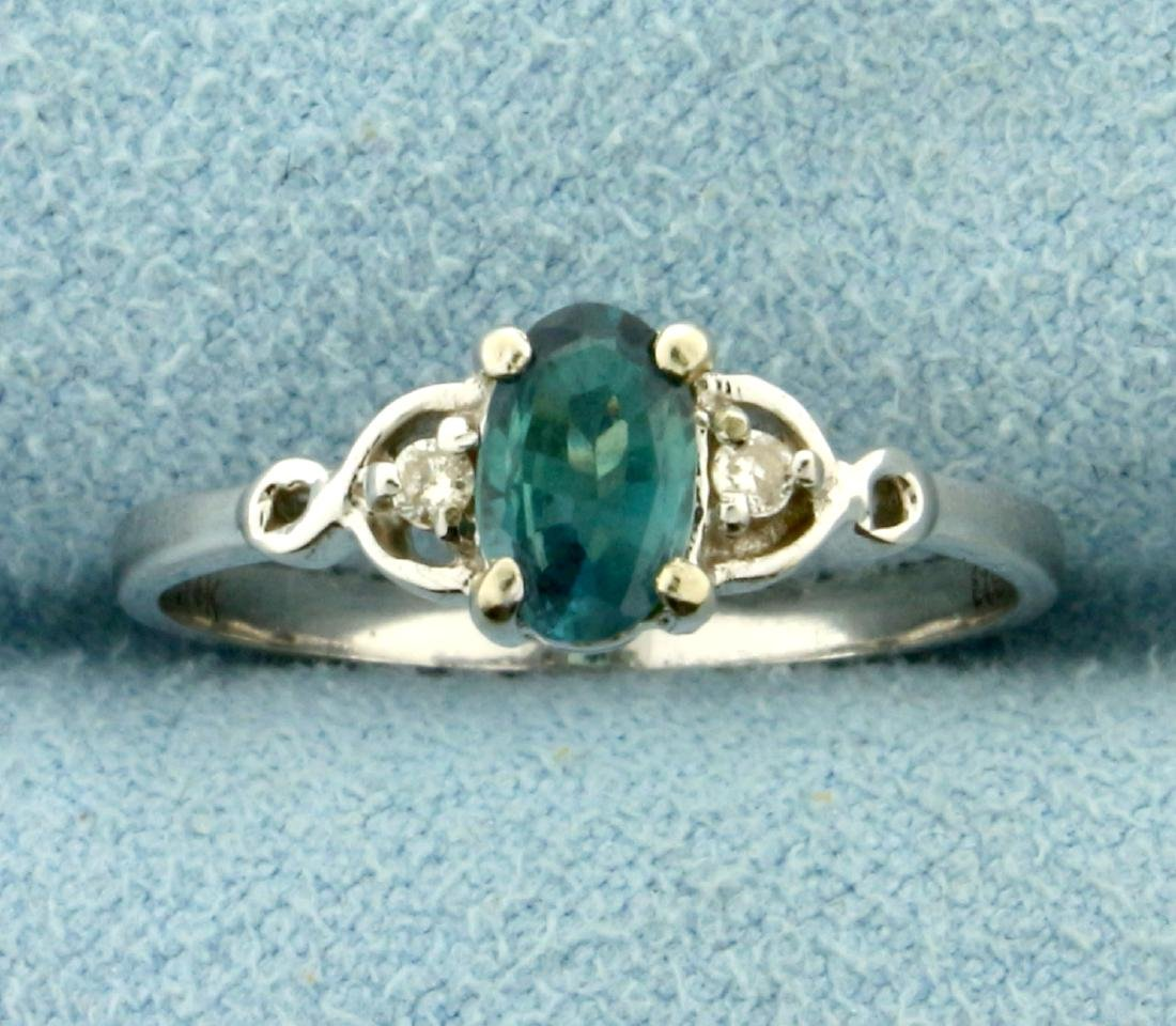 Alexandrite and Diamond Ring in 14K White Gold